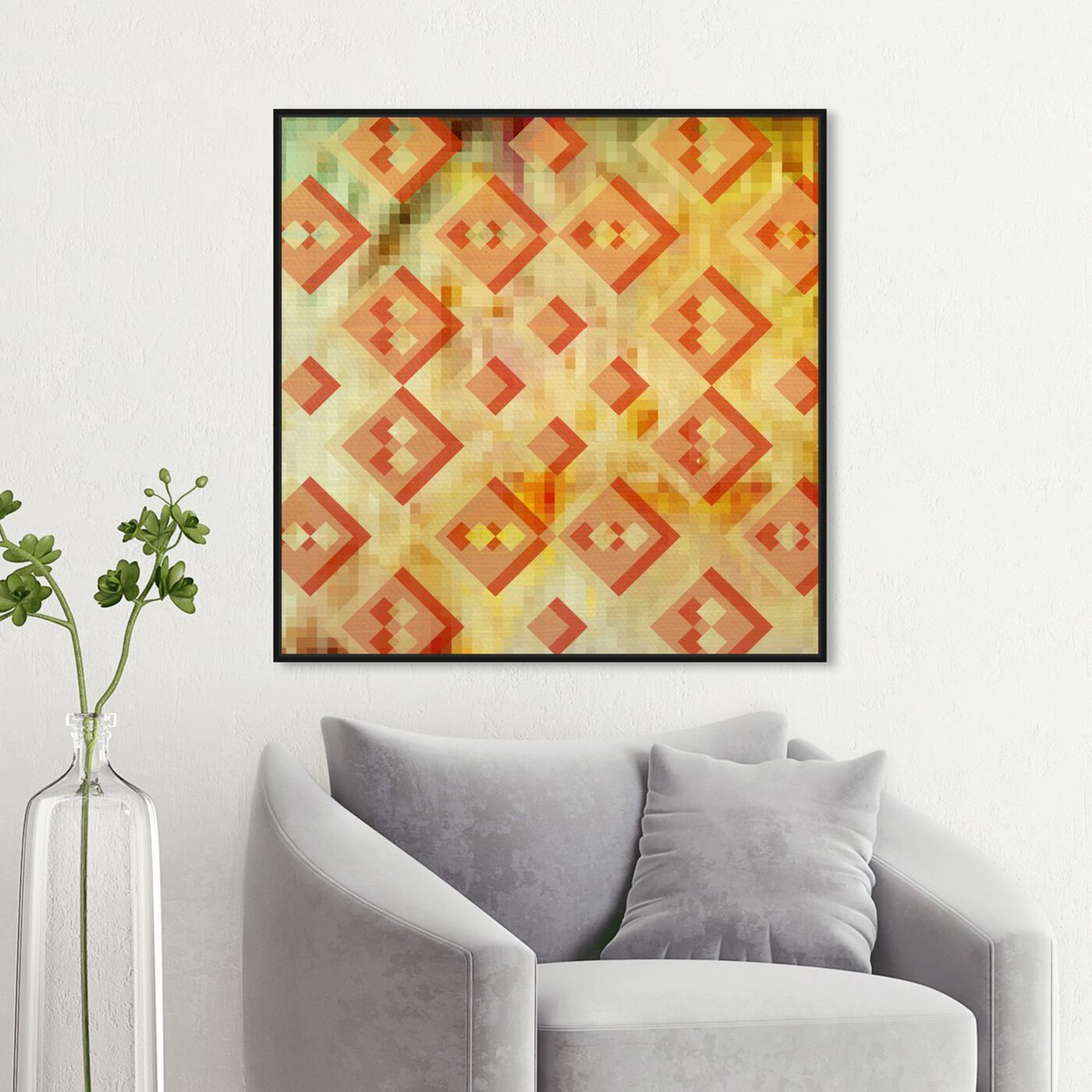 Hanging view of Reflecting Philosophy featuring abstract and geometric art.