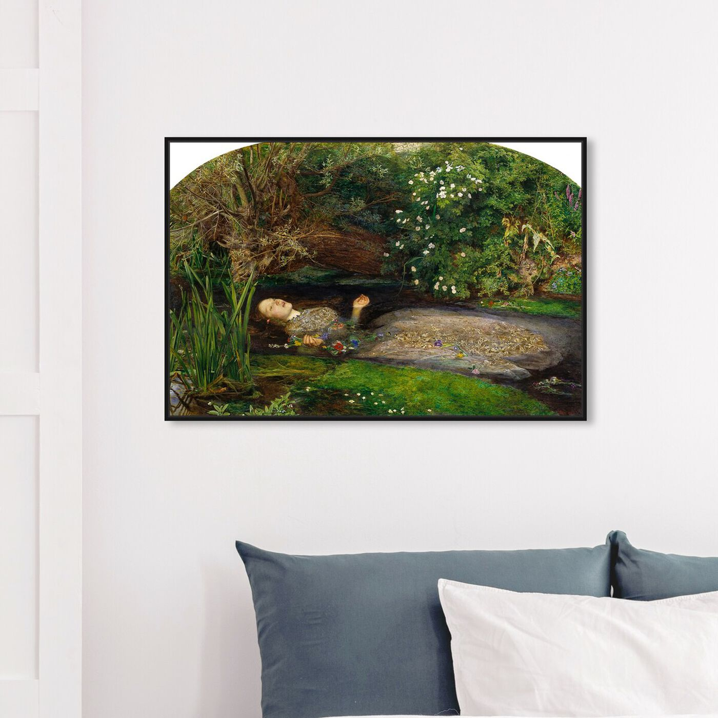 Hanging view of Millais - Ophelia featuring classic and figurative and impressionism art.