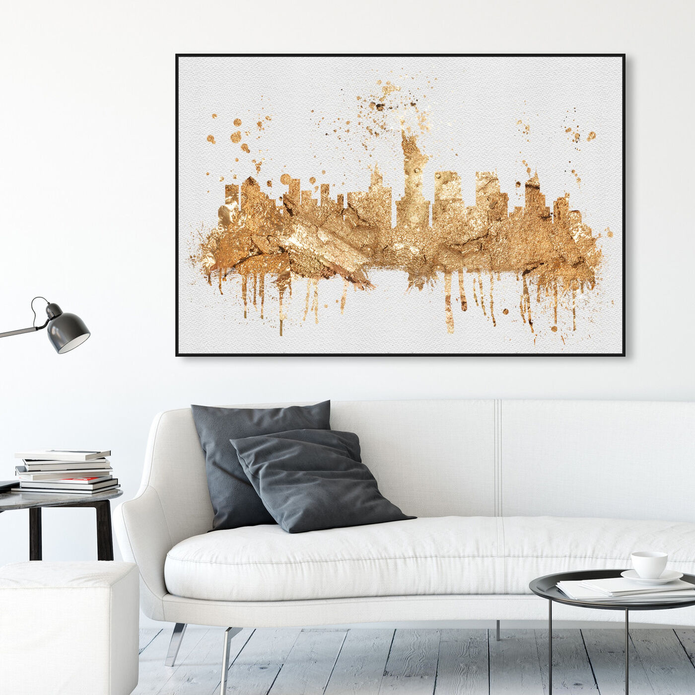 Hanging view of NY Rock Skyline featuring cities and skylines and united states cities art.