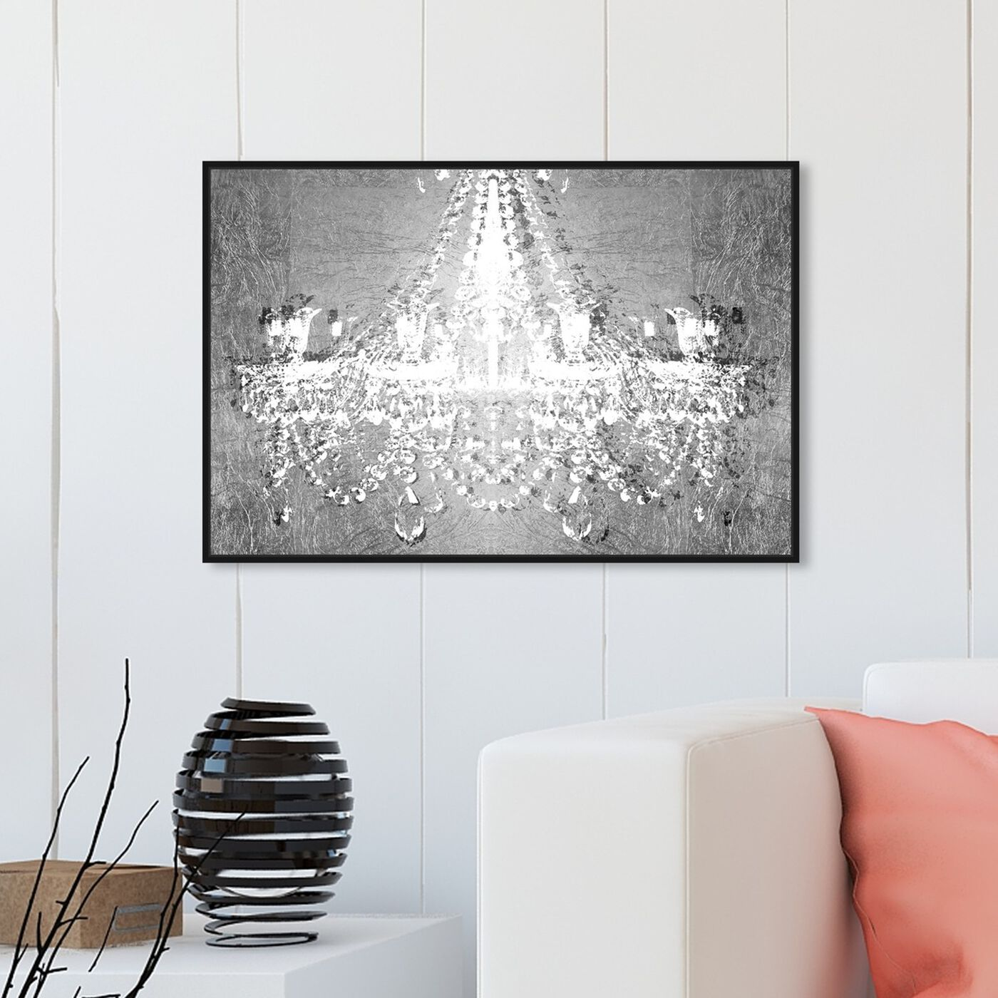 Hanging view of Dramatic Entrance Chrome featuring fashion and glam and chandeliers art.