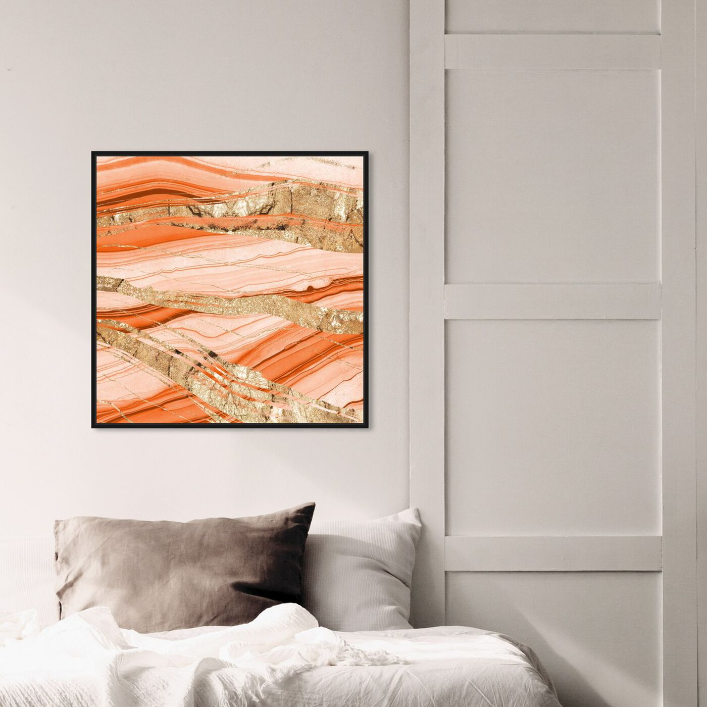 Hanging view of Sand Dunes Gold featuring abstract and crystals art.