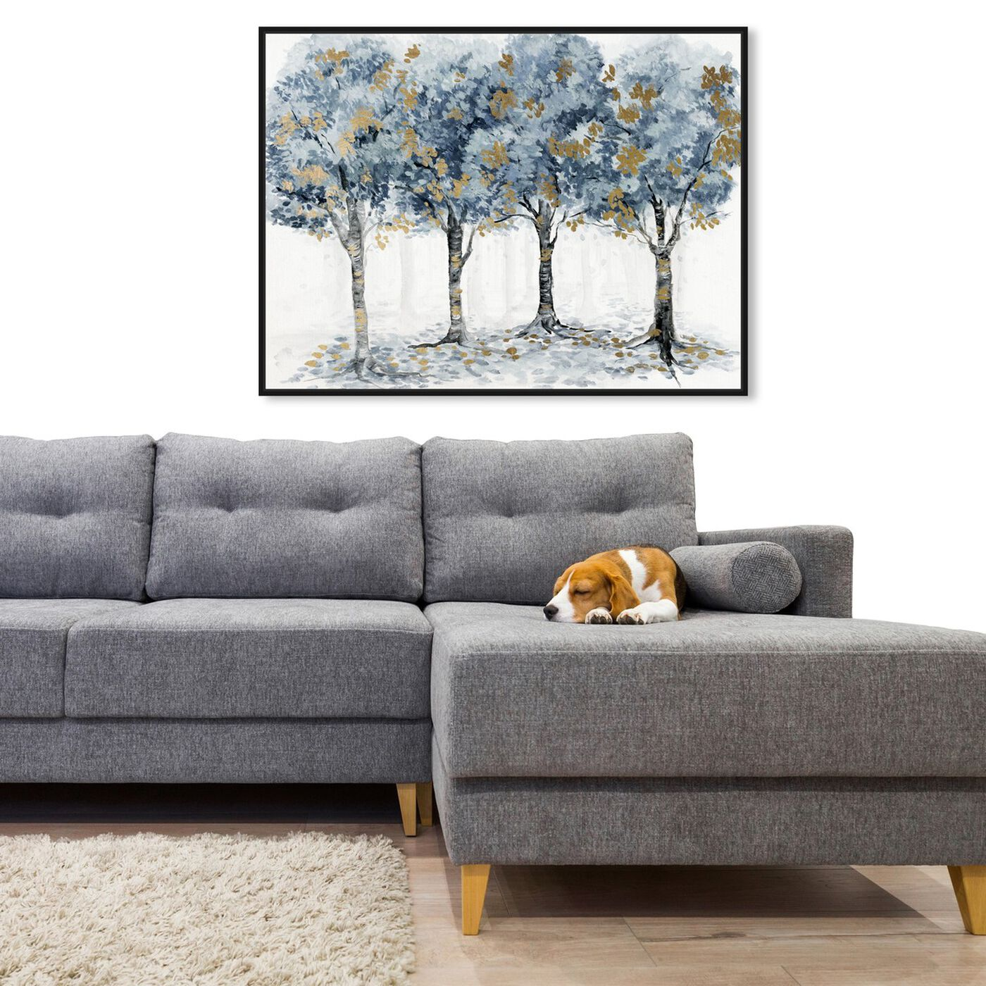 Hanging view of Pale Blue Forest featuring floral and botanical and trees art.