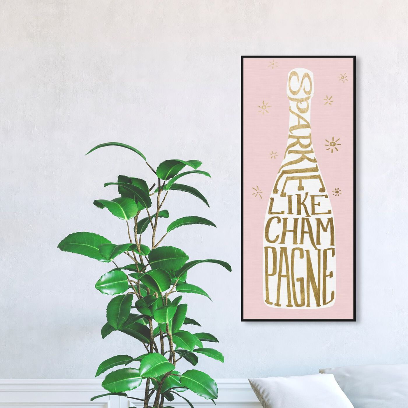 Hanging view of Sparkle Like Champagne Pink featuring drinks and spirits and champagne art.