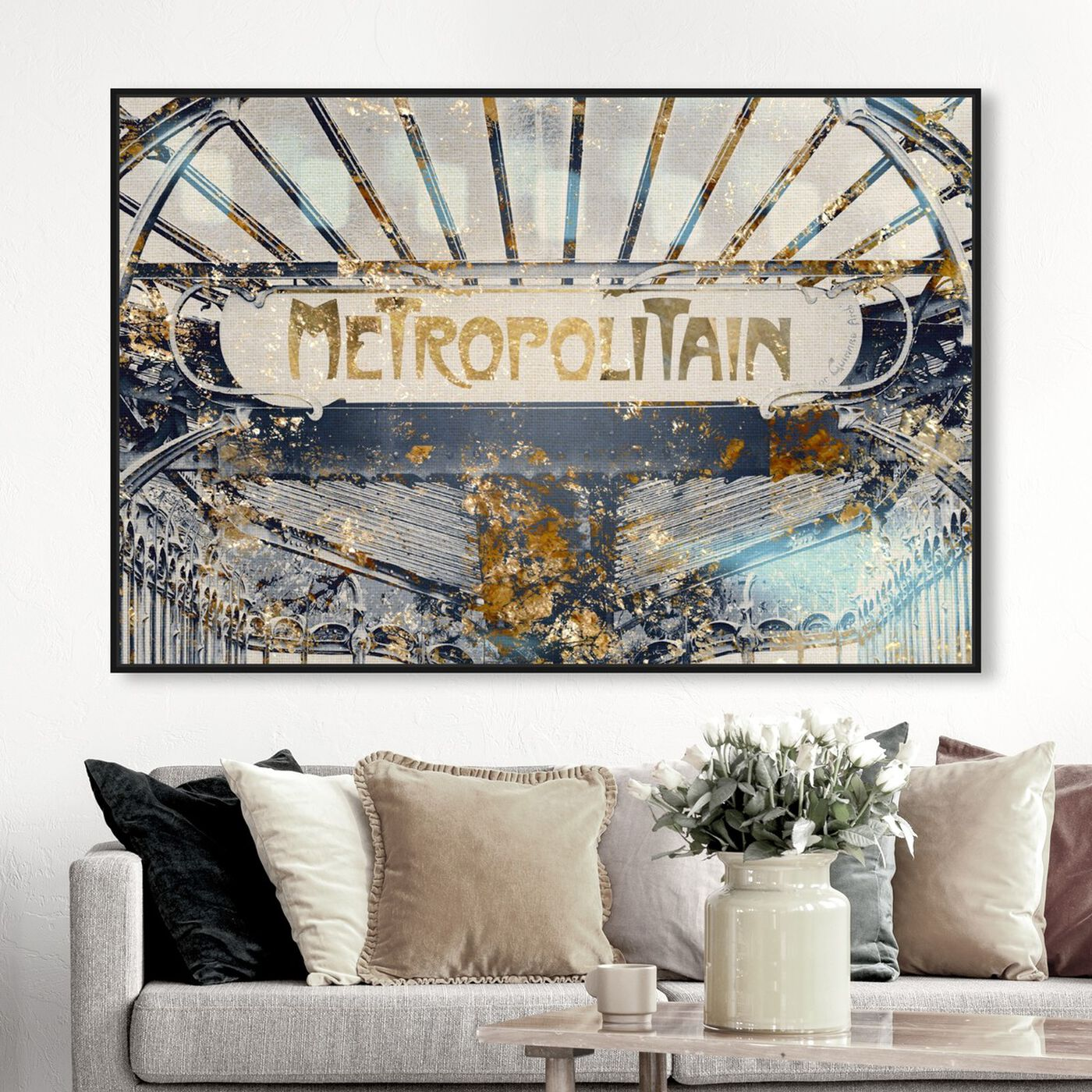 Hanging view of Metropolitain Gold featuring architecture and buildings and united states buildings art.