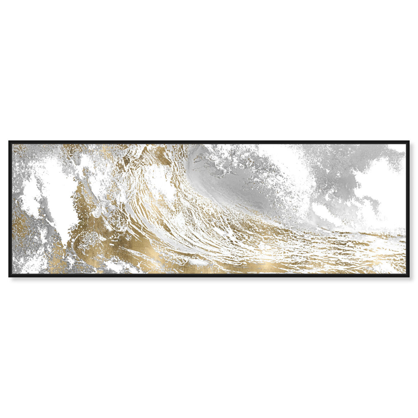 Front view of Wave in a Moment Gold featuring nautical and coastal and coastal landscapes art.
