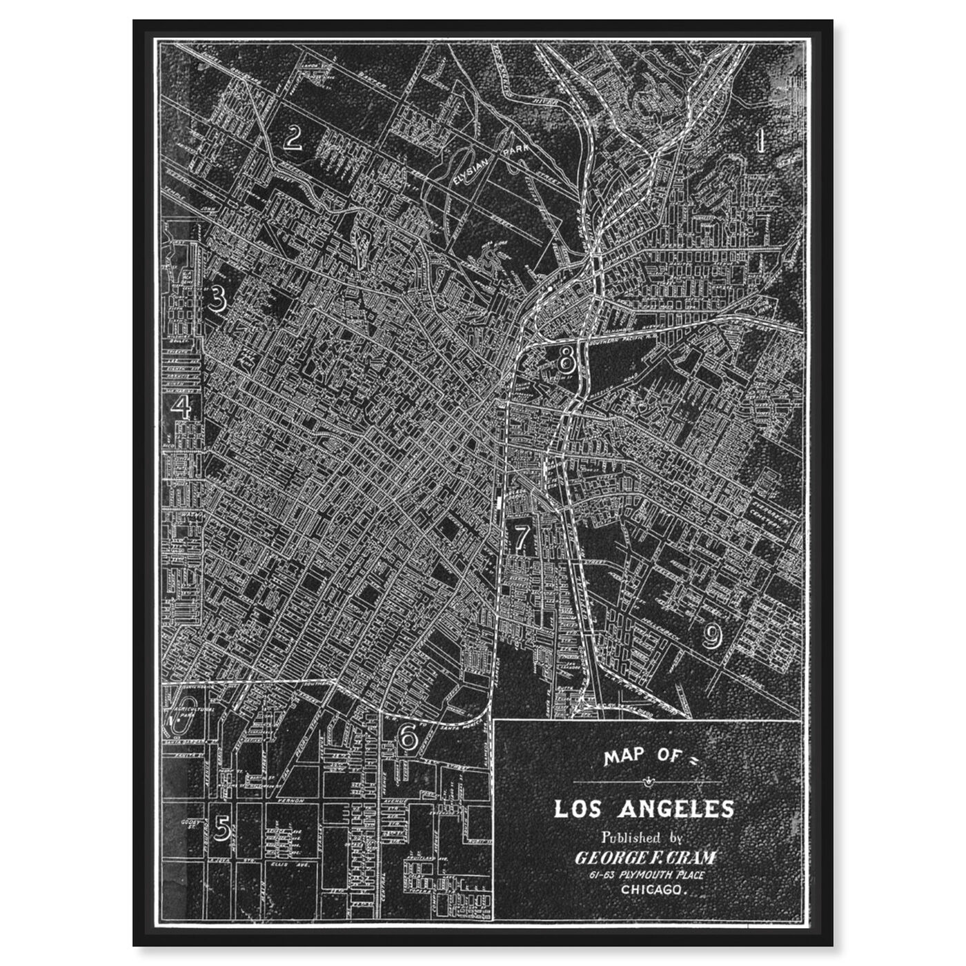 Front view of Los Angeles Map 1899 Grey featuring maps and flags and us cities maps art.