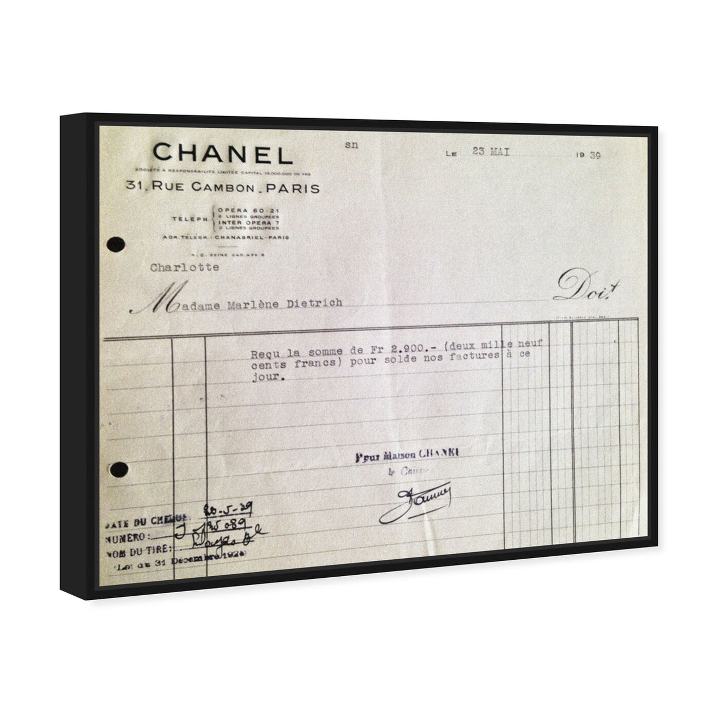 Angled view of Marlene Dietrich Receipt featuring fashion and glam and lifestyle art.