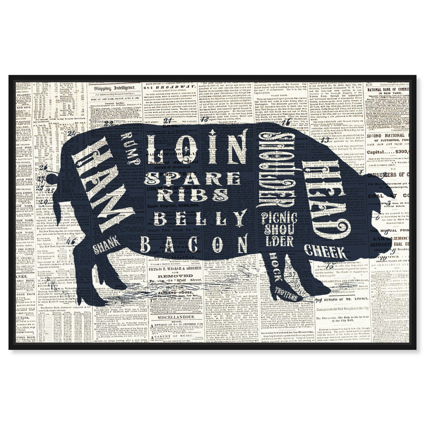 Front view of Pork Butcher Cuts Chart featuring animals and farm animals art.
