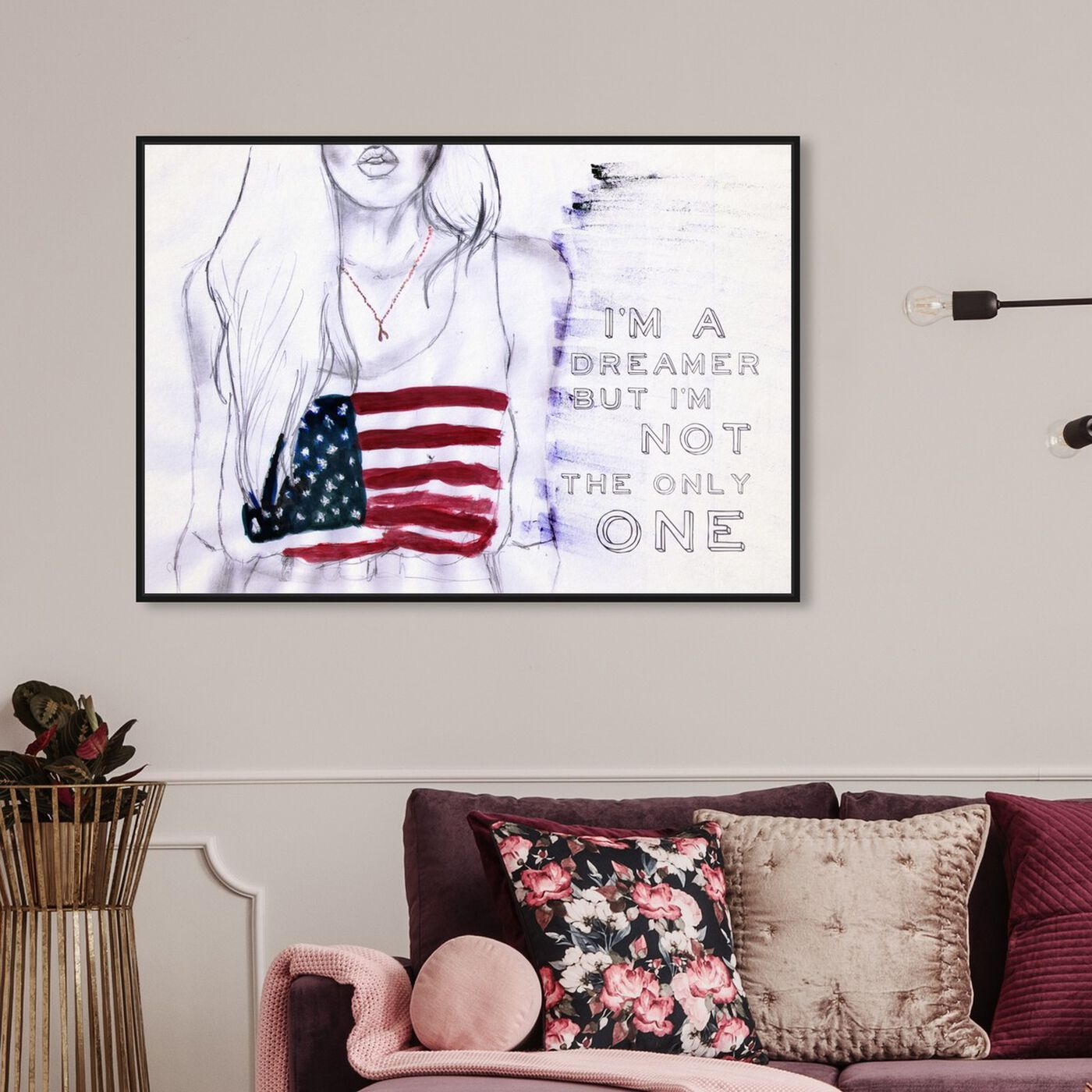 Hanging view of Coachella Child featuring americana and patriotic and us flags art.