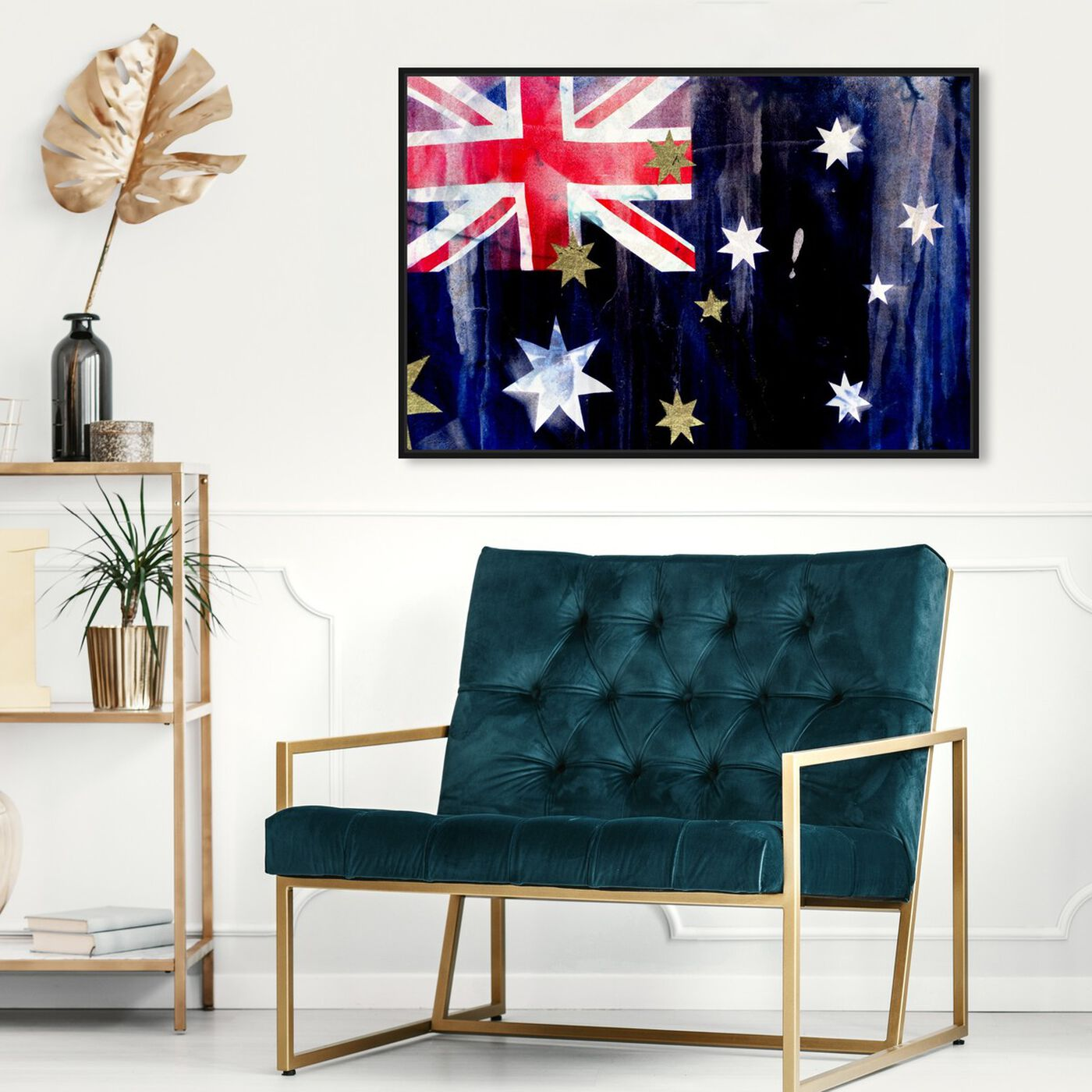 Hanging view of Australian Flag Interpreted by Oliver Gal featuring maps and flags and oceania countries flags art.
