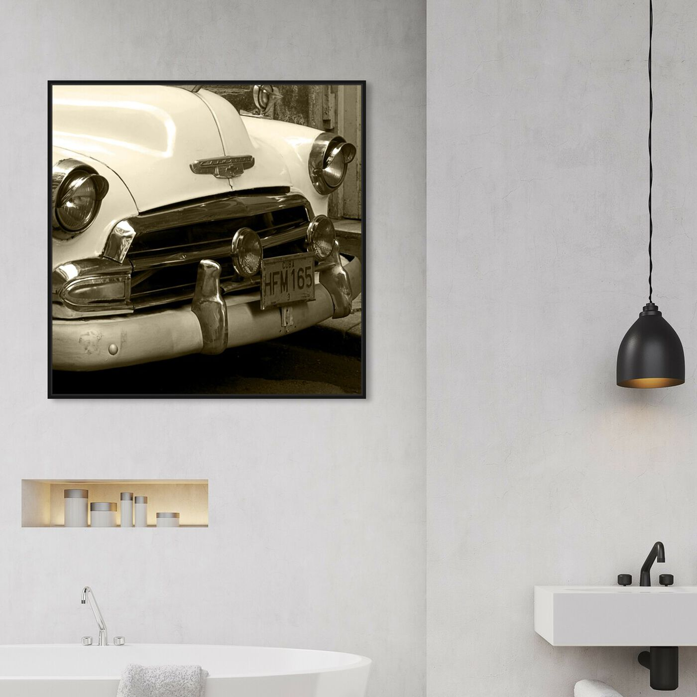 Hanging view of Vintage Macchina II featuring transportation and automobiles art.