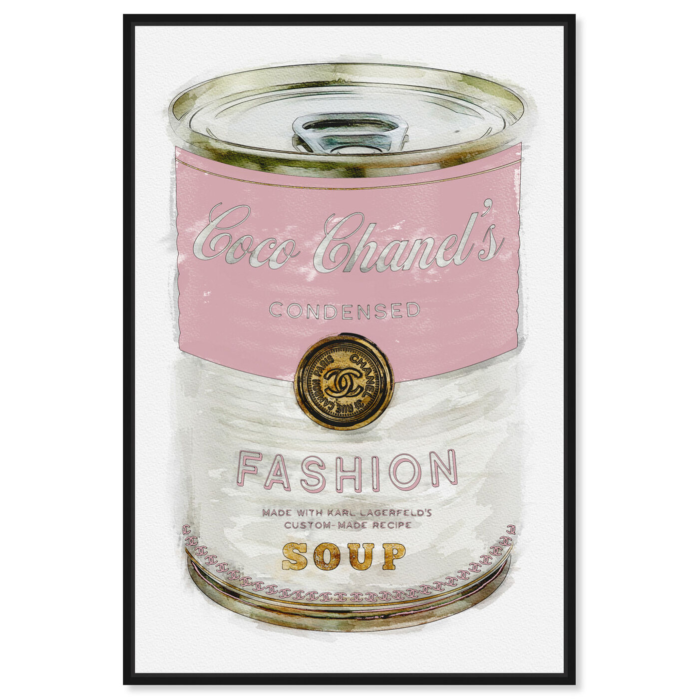 Front view of Fashion Soup Pink featuring fashion and glam and soup can art.