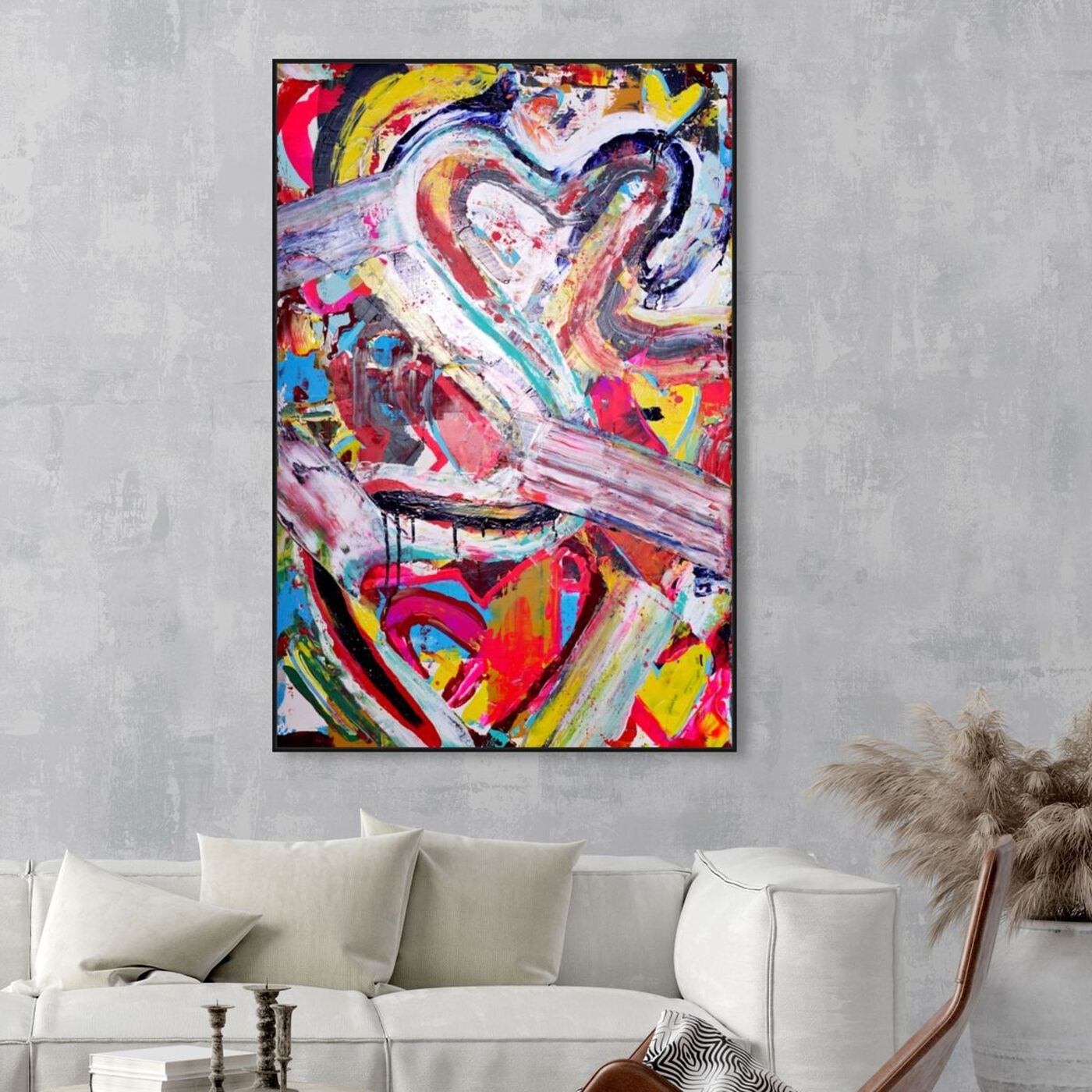 Hanging view of Love Remix by Tiago Magro featuring abstract and shapes art.