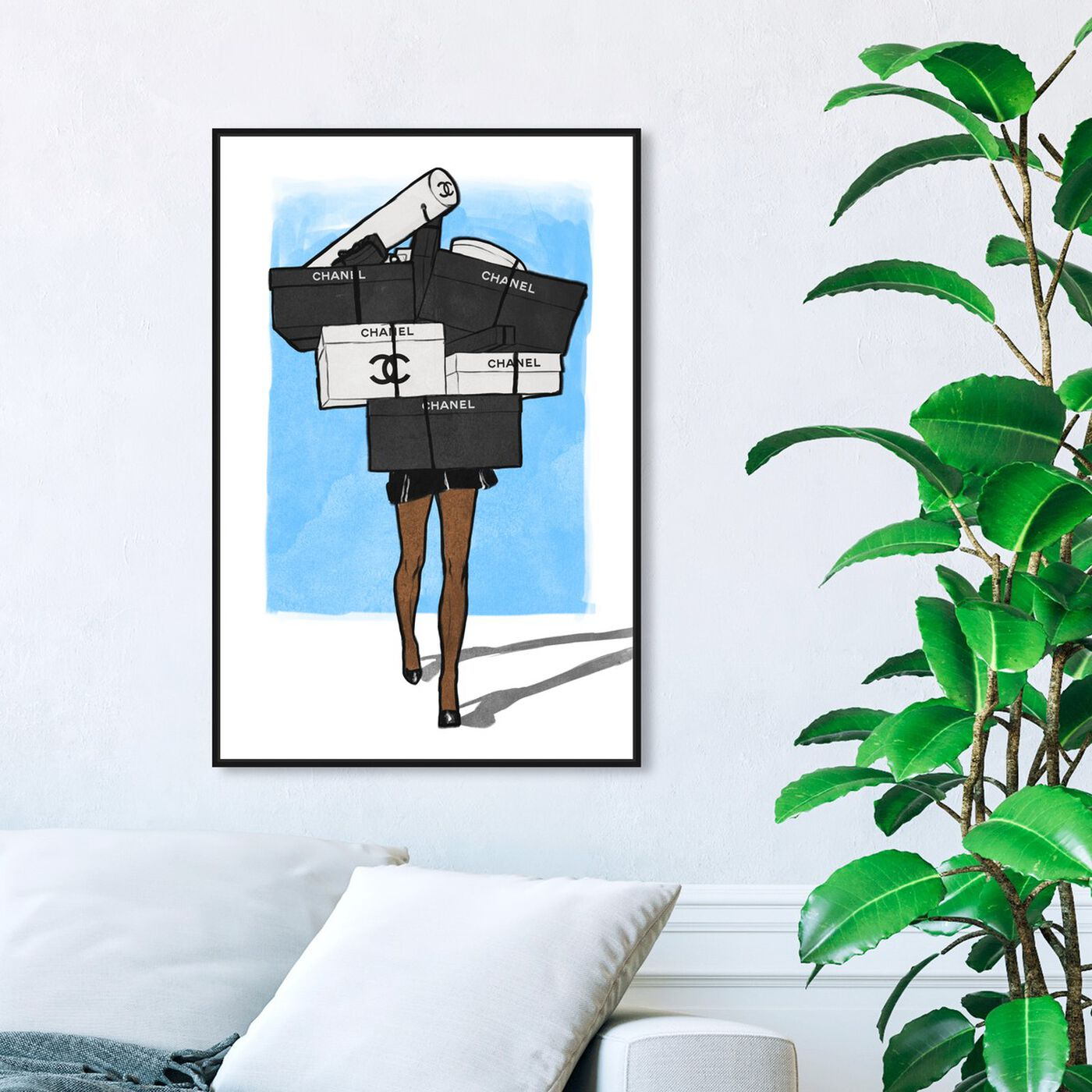 Hanging view of French Boxes Overload Blue featuring fashion and glam and dress art.