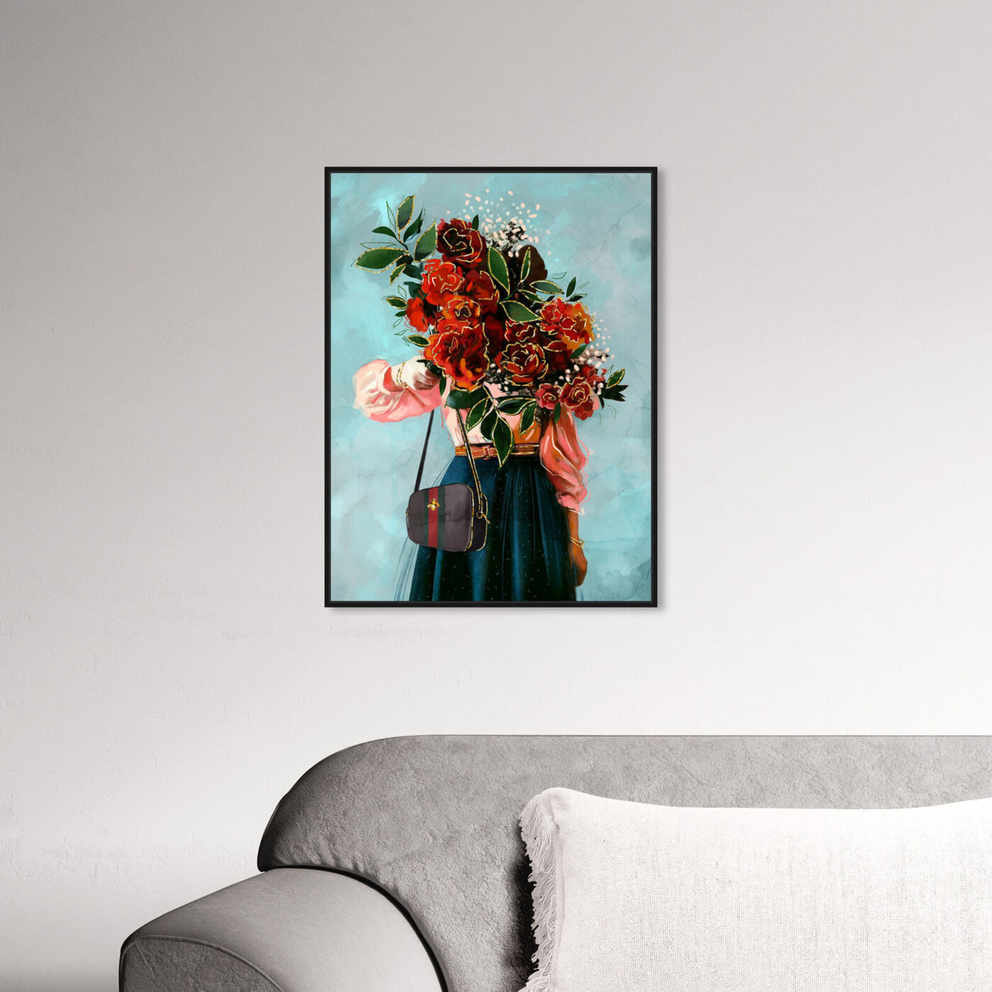 Hanging view of Roses in View featuring floral and botanical and florals art.