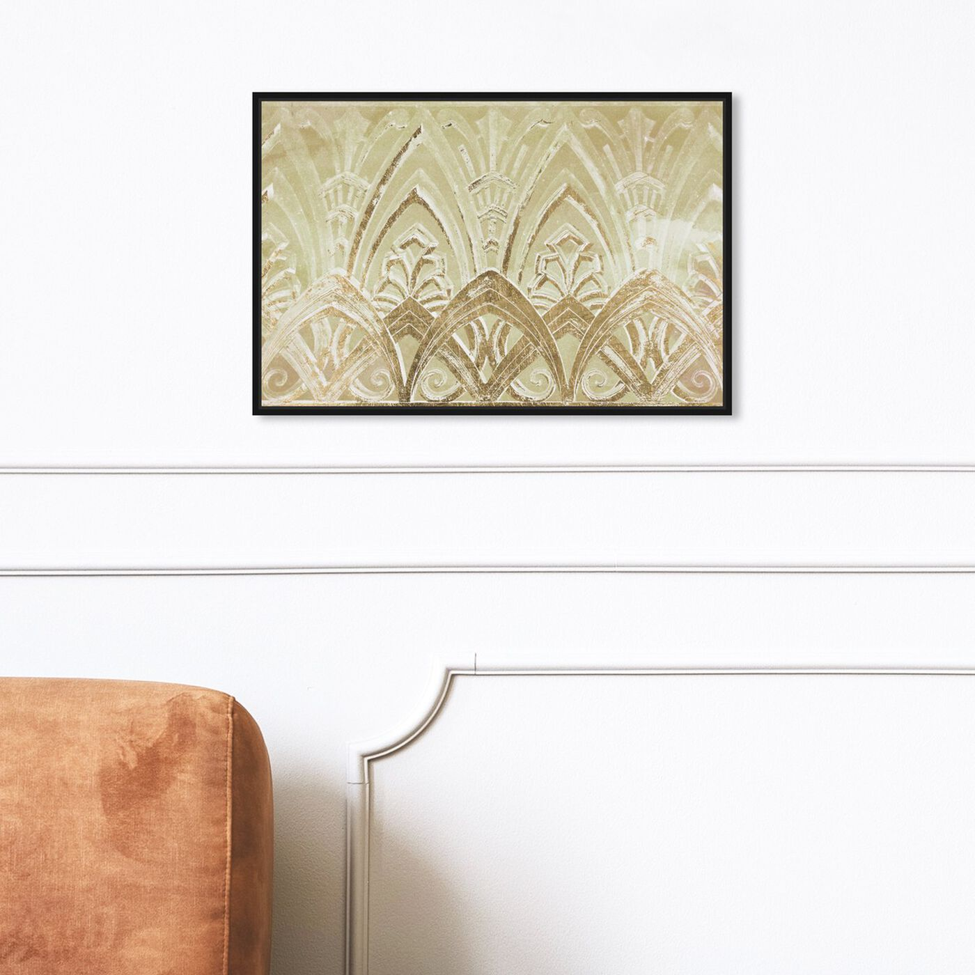 Hanging view of Copacabana in Gold featuring abstract and textures art.
