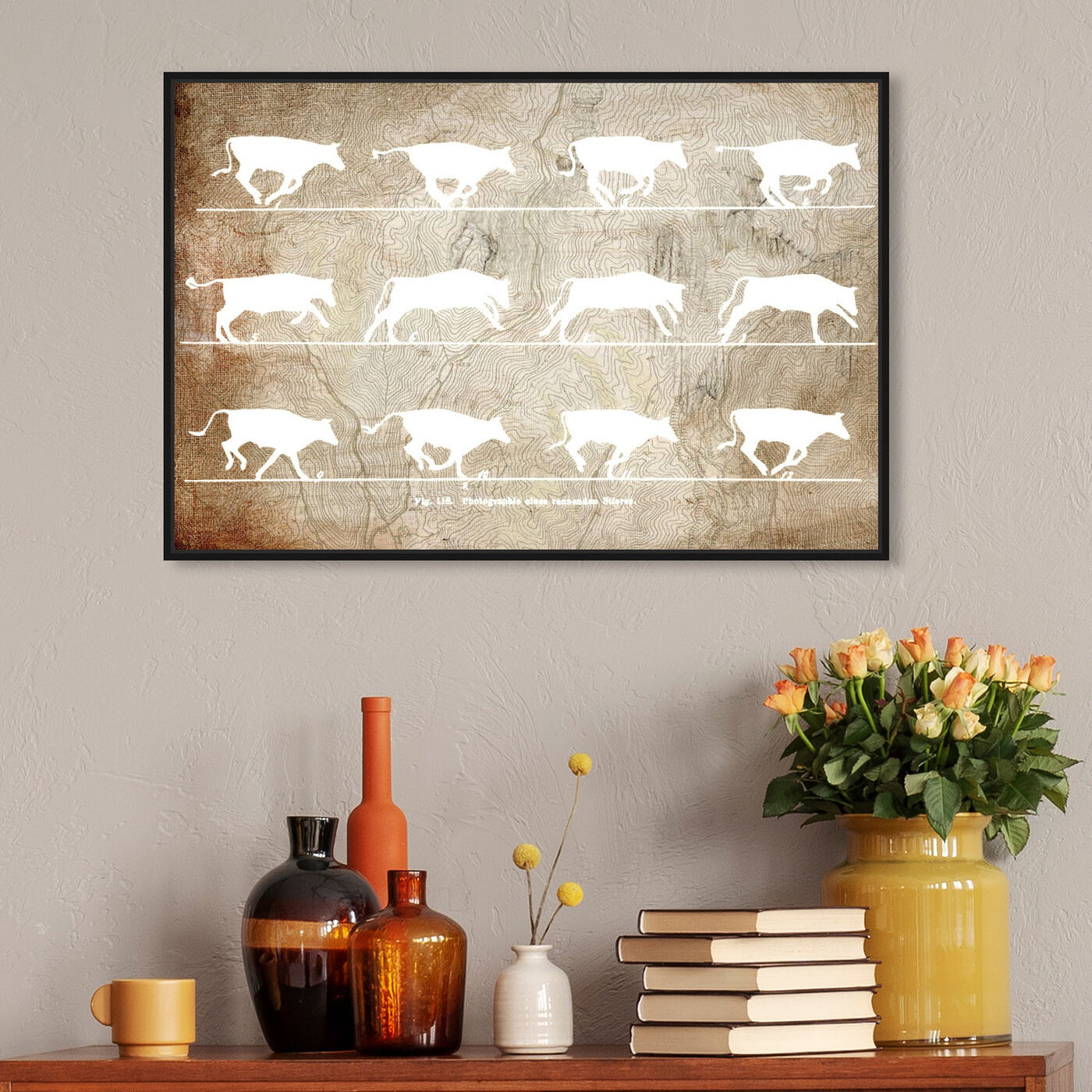 Hanging view of Cows in Motion featuring animals and farm animals art.