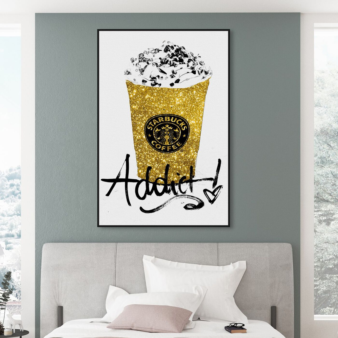 Hanging view of Glitter Fuel featuring drinks and spirits and coffee art.