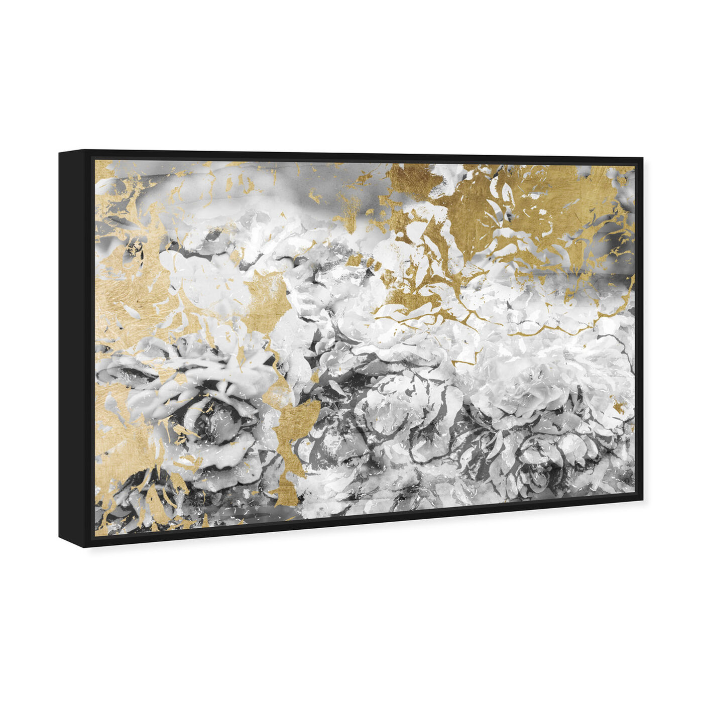 Angled view of Silver and Gold Camellias featuring abstract and flowers art.