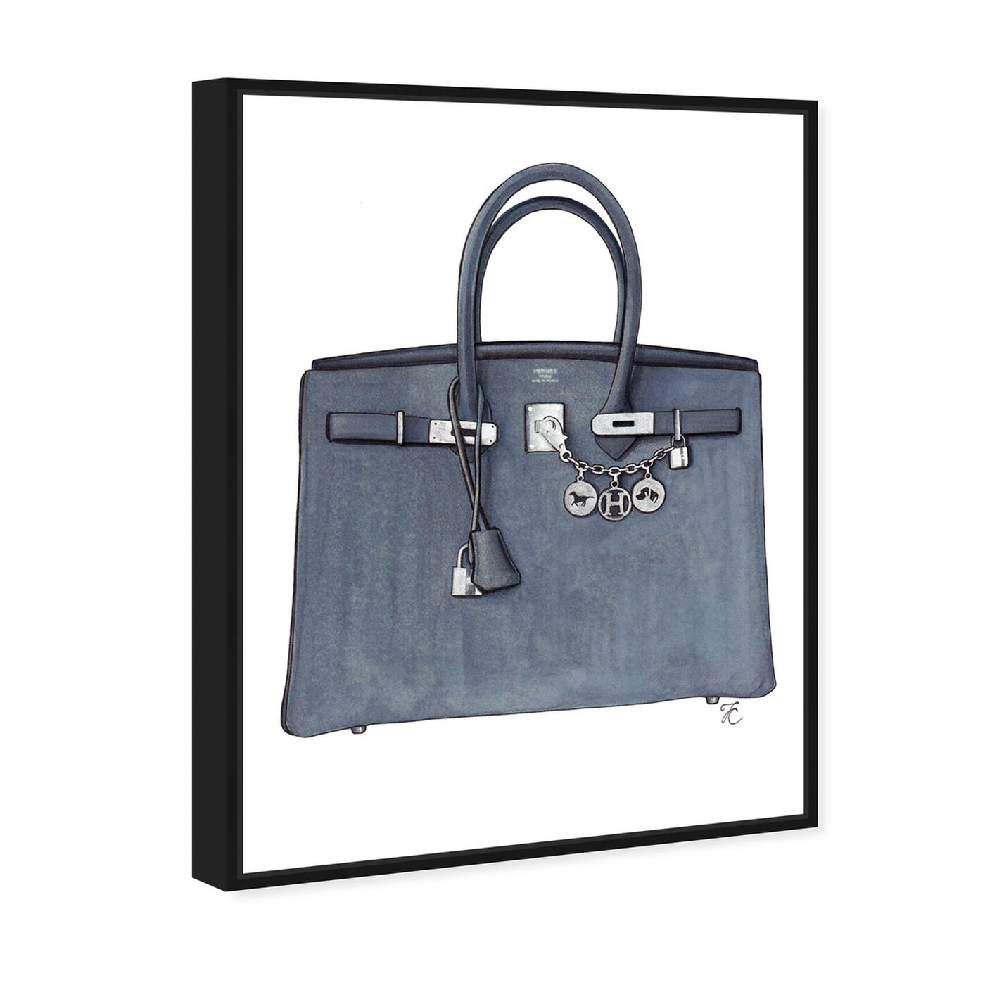 Angled view of Doll Memories - Grey Memories Bag featuring fashion and glam and handbags art.