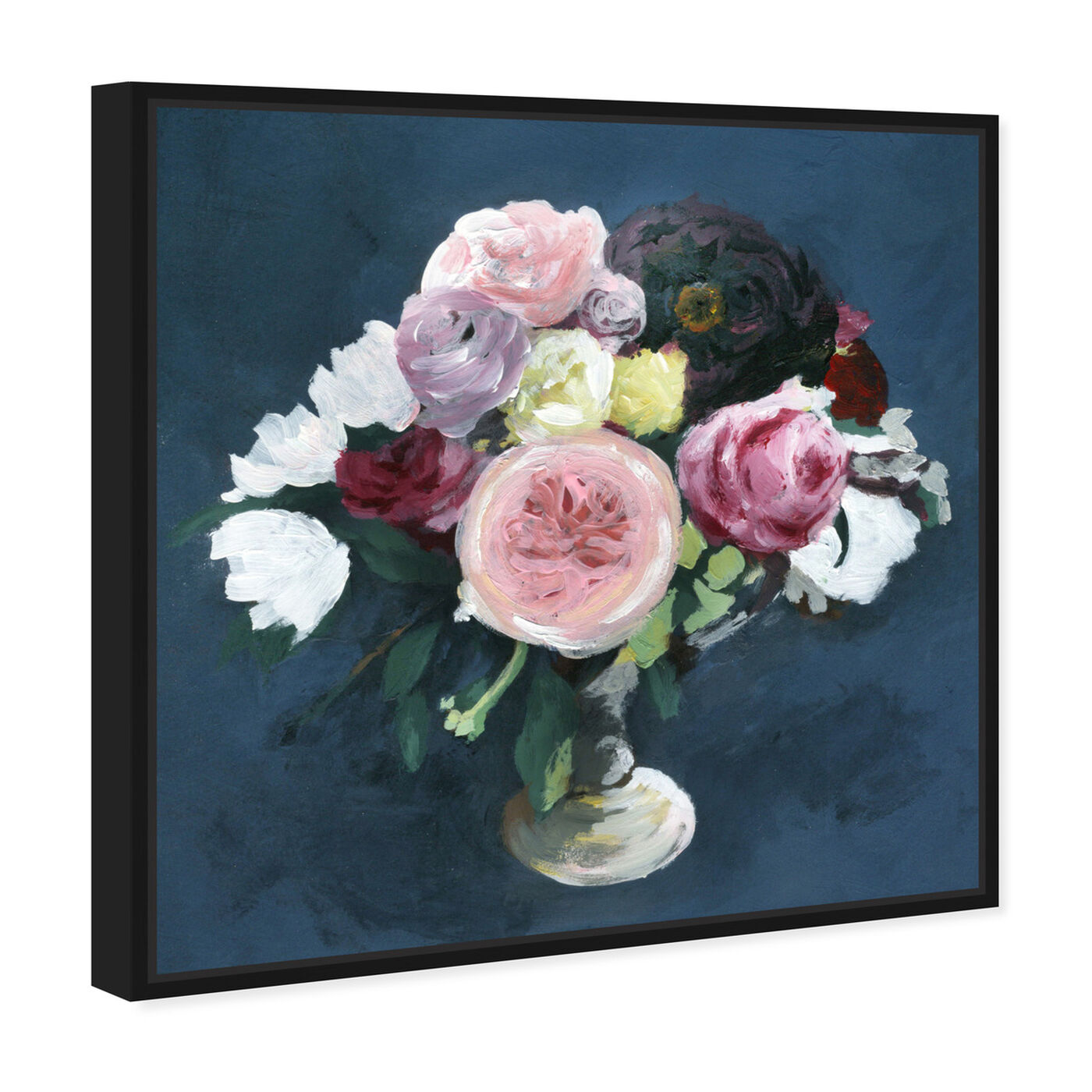 Angled view of Night Bouquet Blue featuring floral and botanical and florals art.