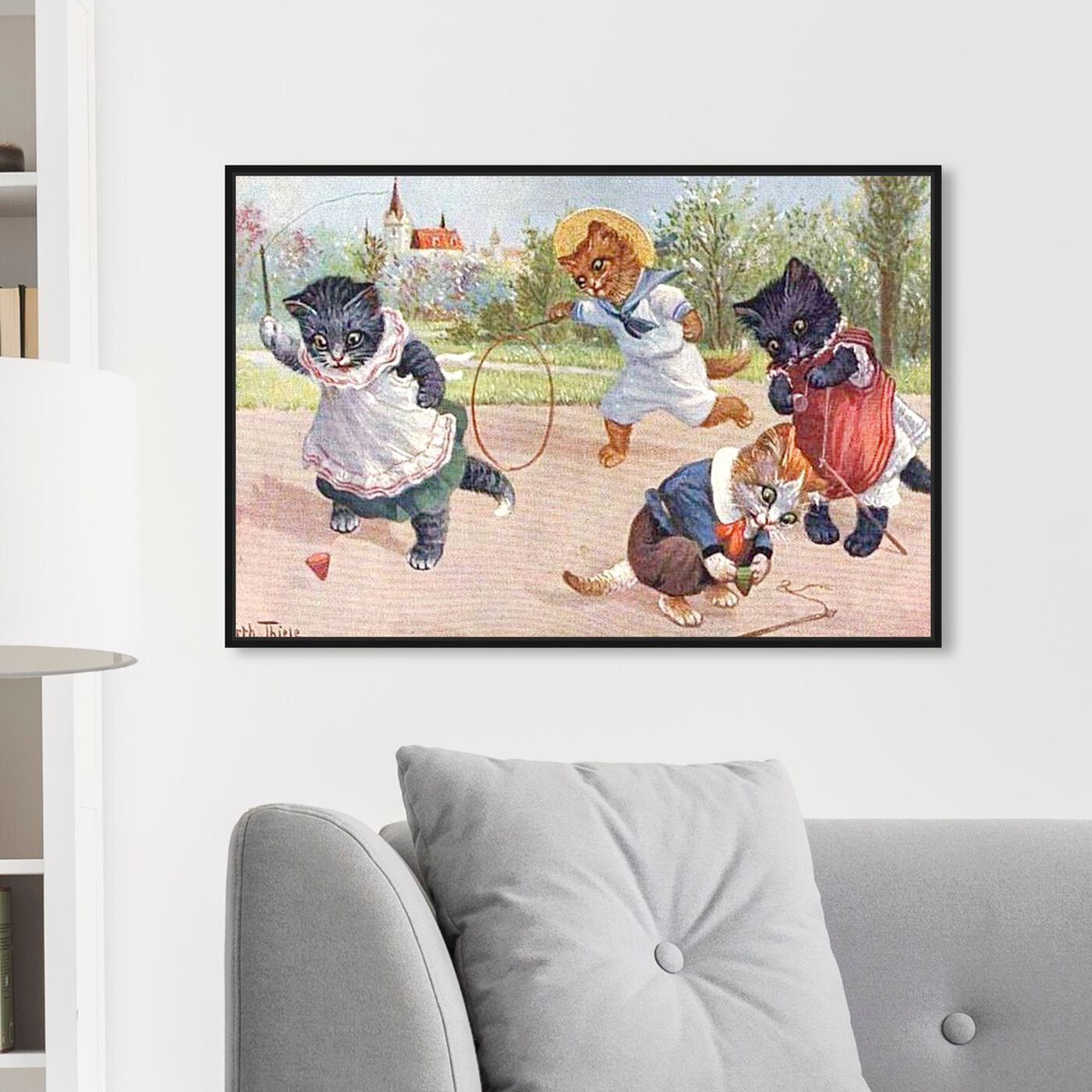 Hanging view of Kittens Playing in the Park featuring animals and cats and kitties art.