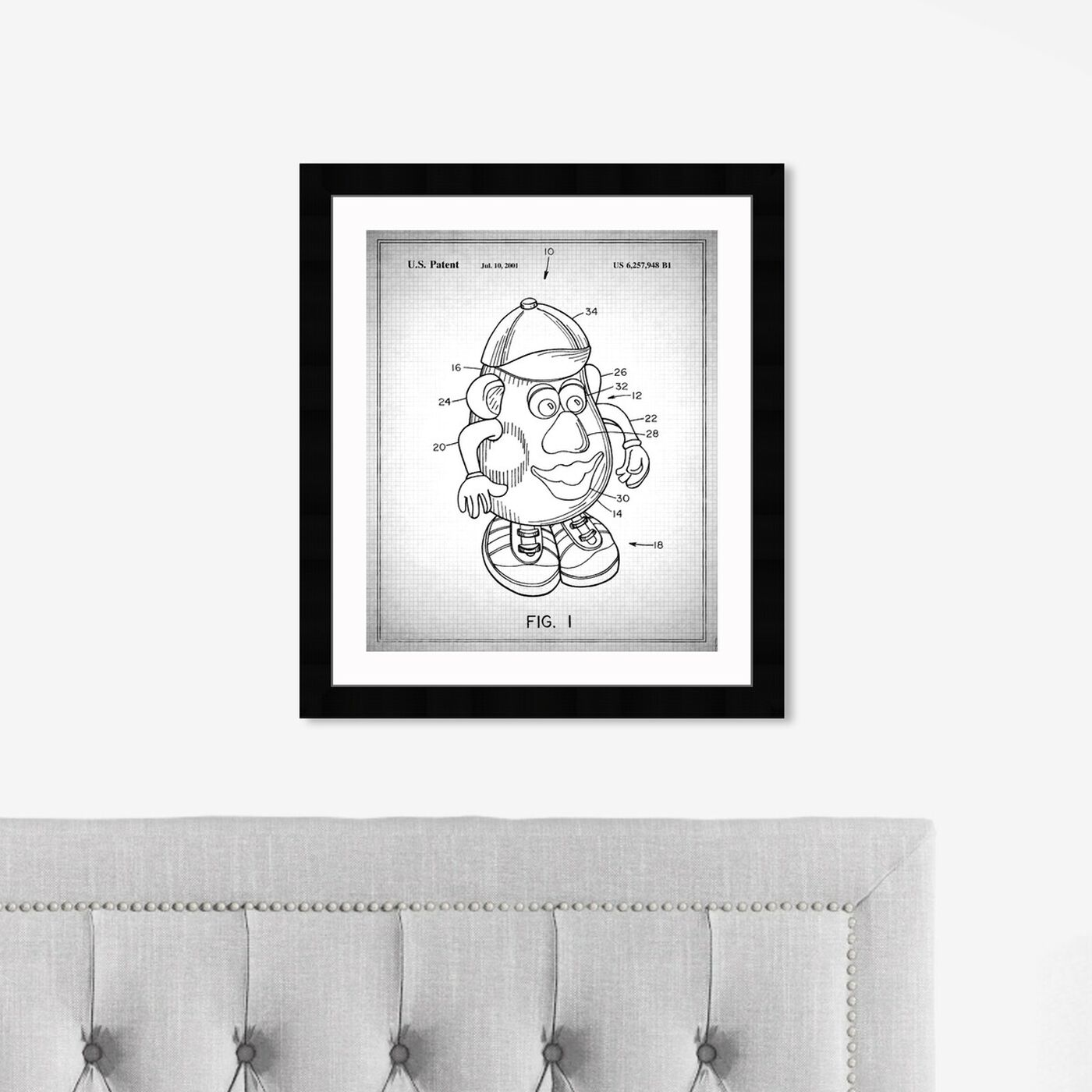 Hanging view of Mr Potato 1980 Gray featuring symbols and objects and toys art.