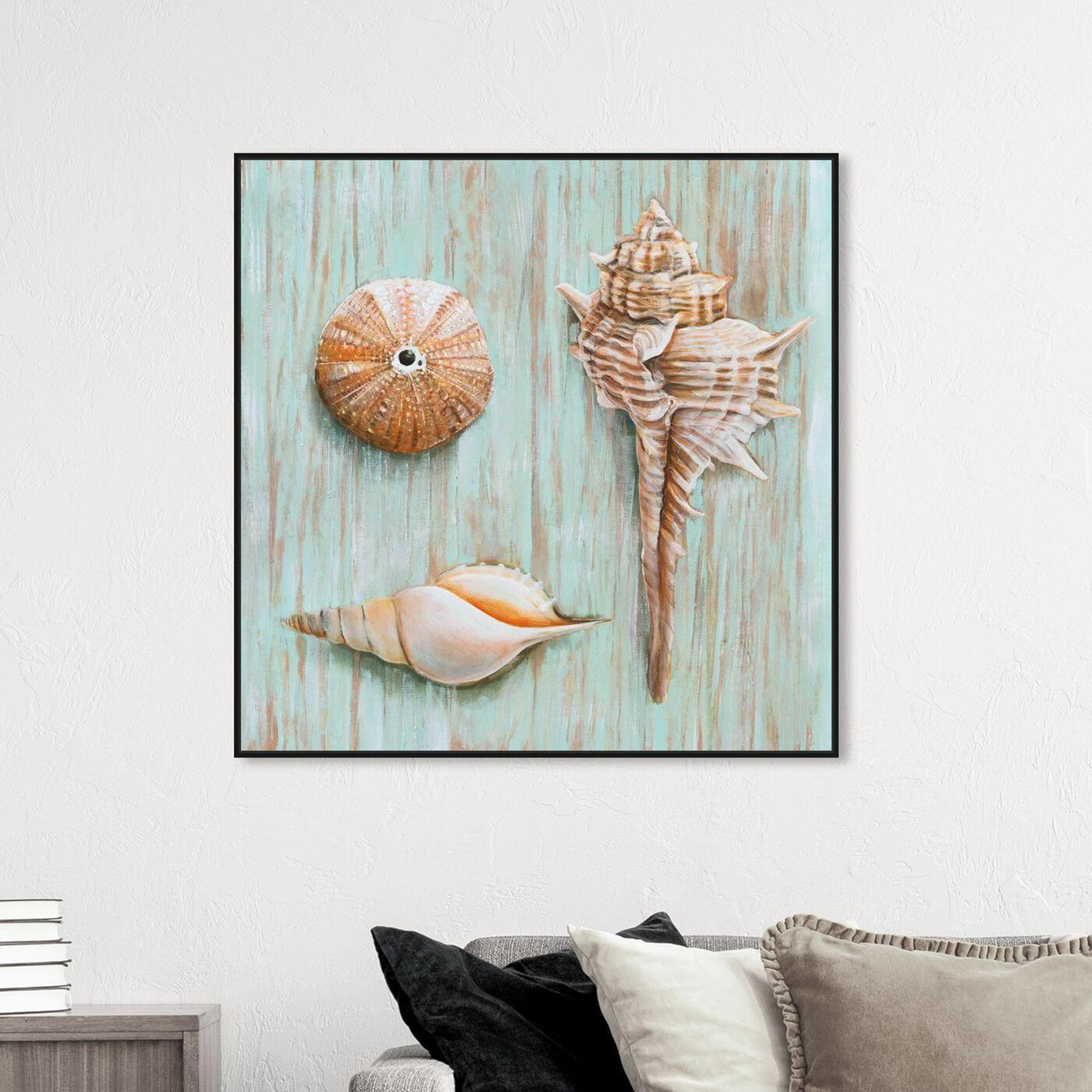 Hanging view of SAI - Maritimas Treasures II featuring nautical and coastal and marine life art.