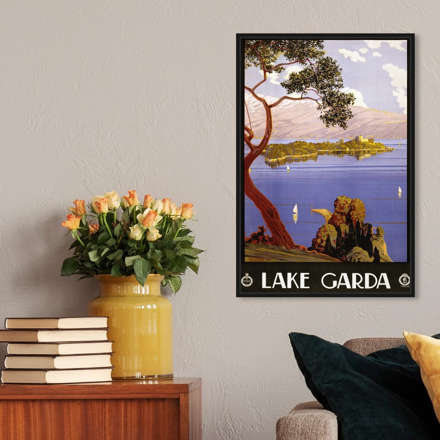 Hanging view of Lake Garda featuring nature and landscape and nature art.