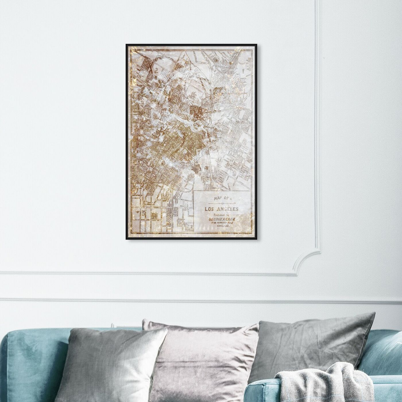 Hanging view of Dusty Gold Los Angeles Map featuring maps and flags and us cities flags art.
