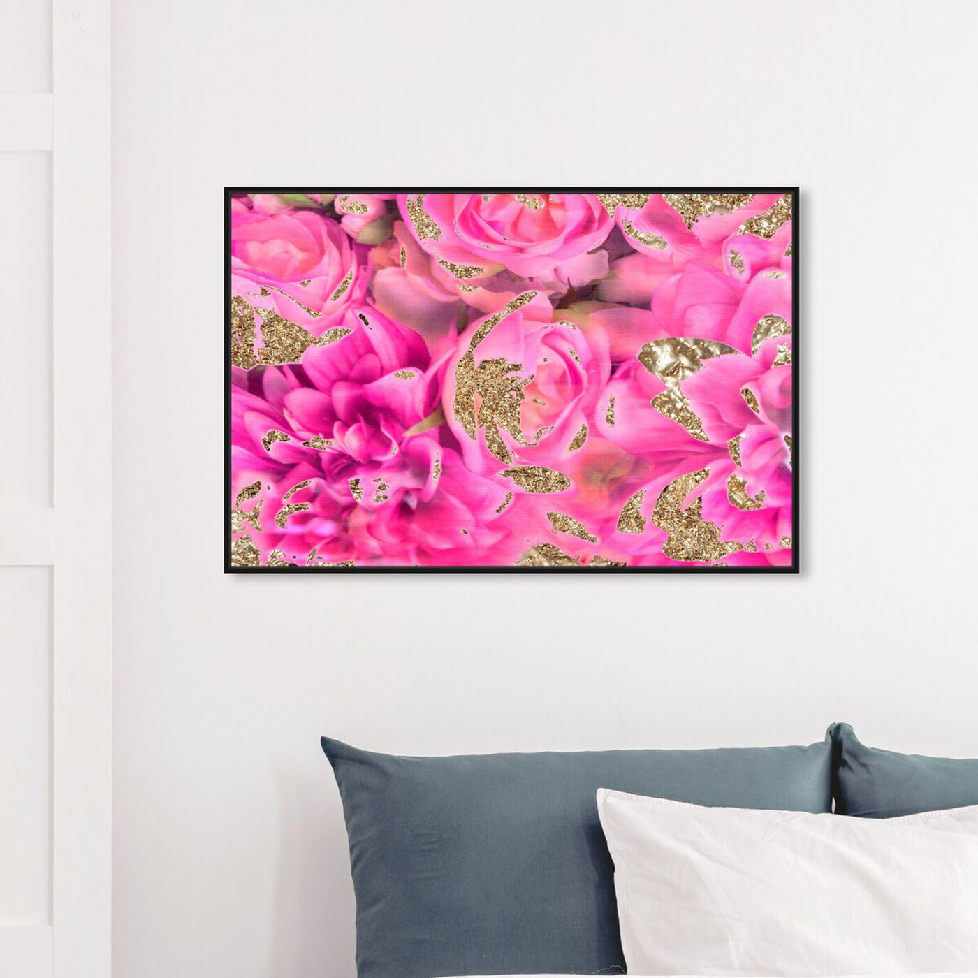 Hanging view of Again In Love featuring abstract and flowers art.