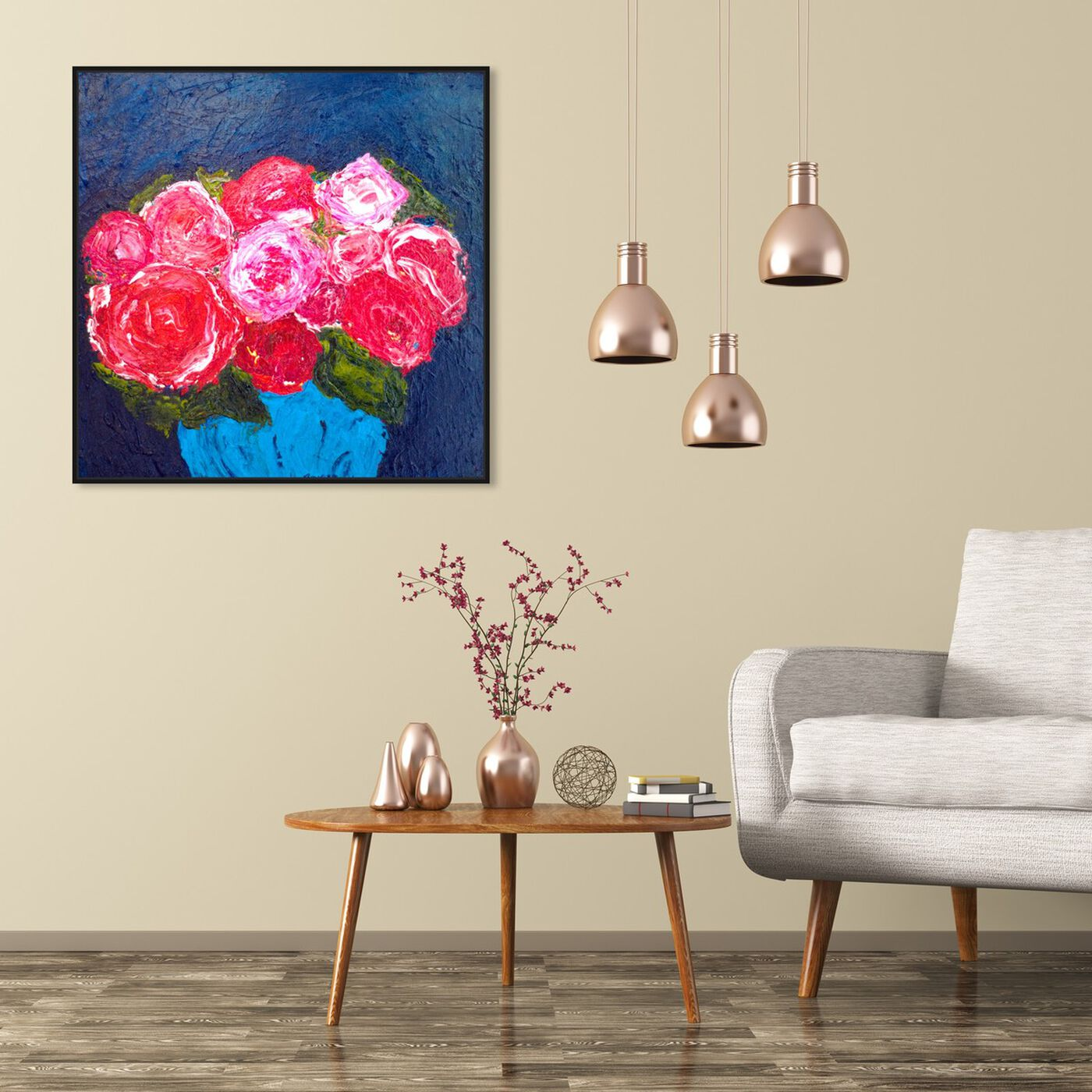 Hanging view of Love Me Tender by Claire Sower featuring floral and botanical and florals art.
