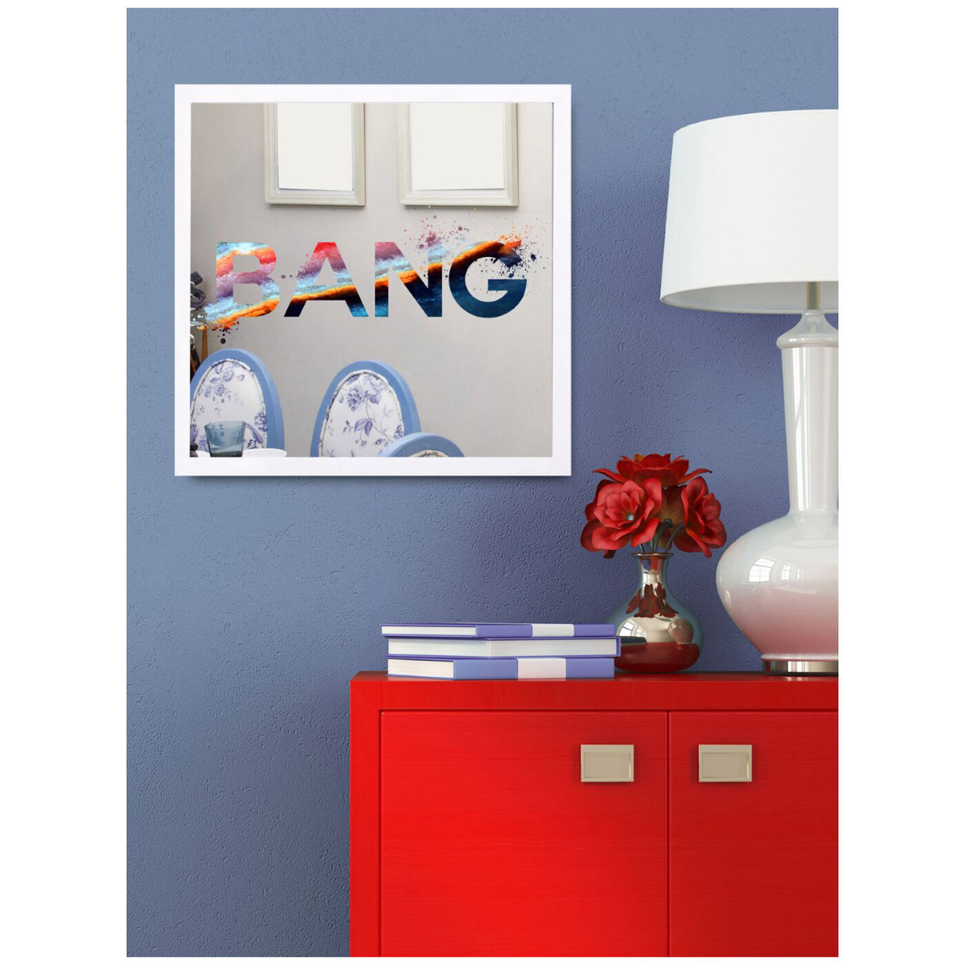 Hanging view of BANG BOOM featuring typography and quotes and quotes and sayings art.
