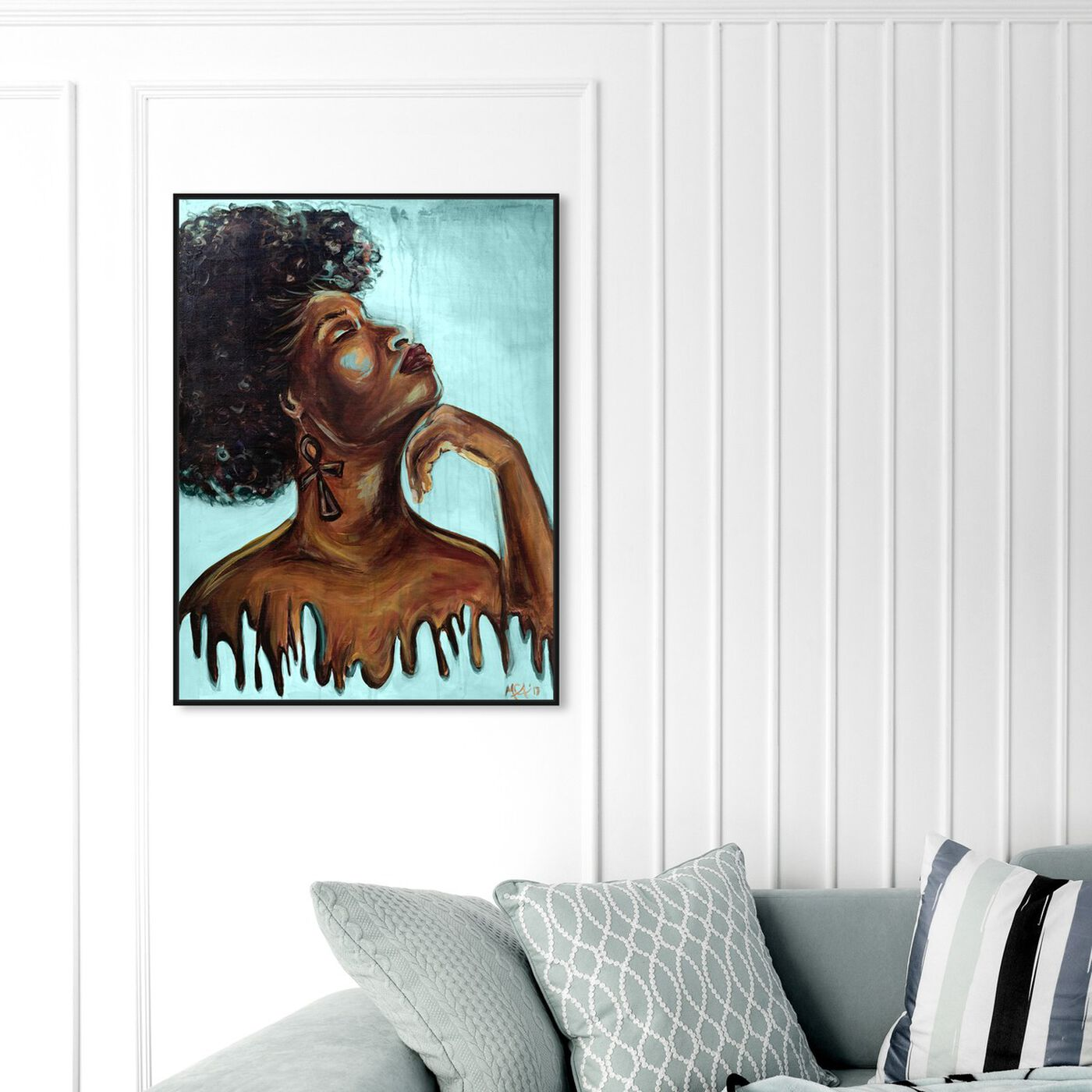 Hanging view of Marissa Anderson - Dripping Melanin Blue featuring fashion and glam and portraits art.