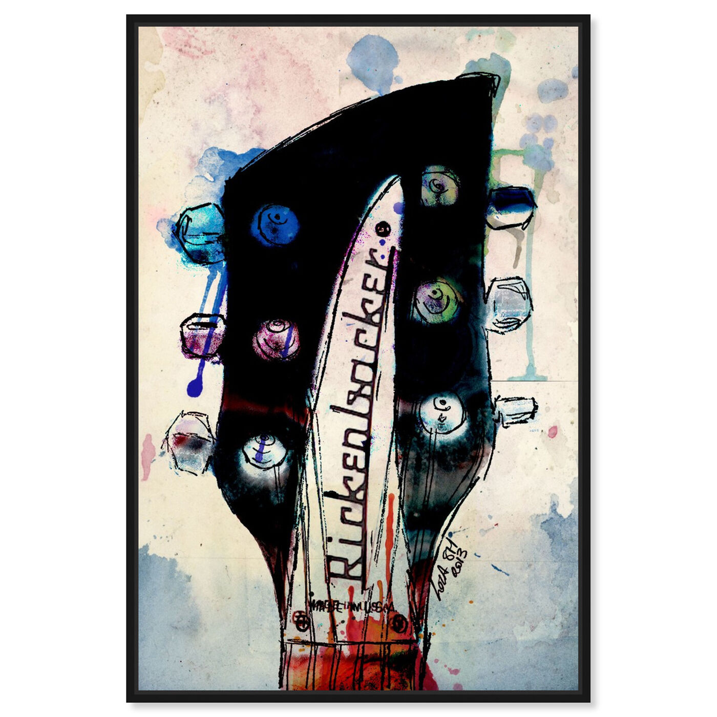 Front view of Rickenbacker Headstock featuring music and dance and music instruments art.