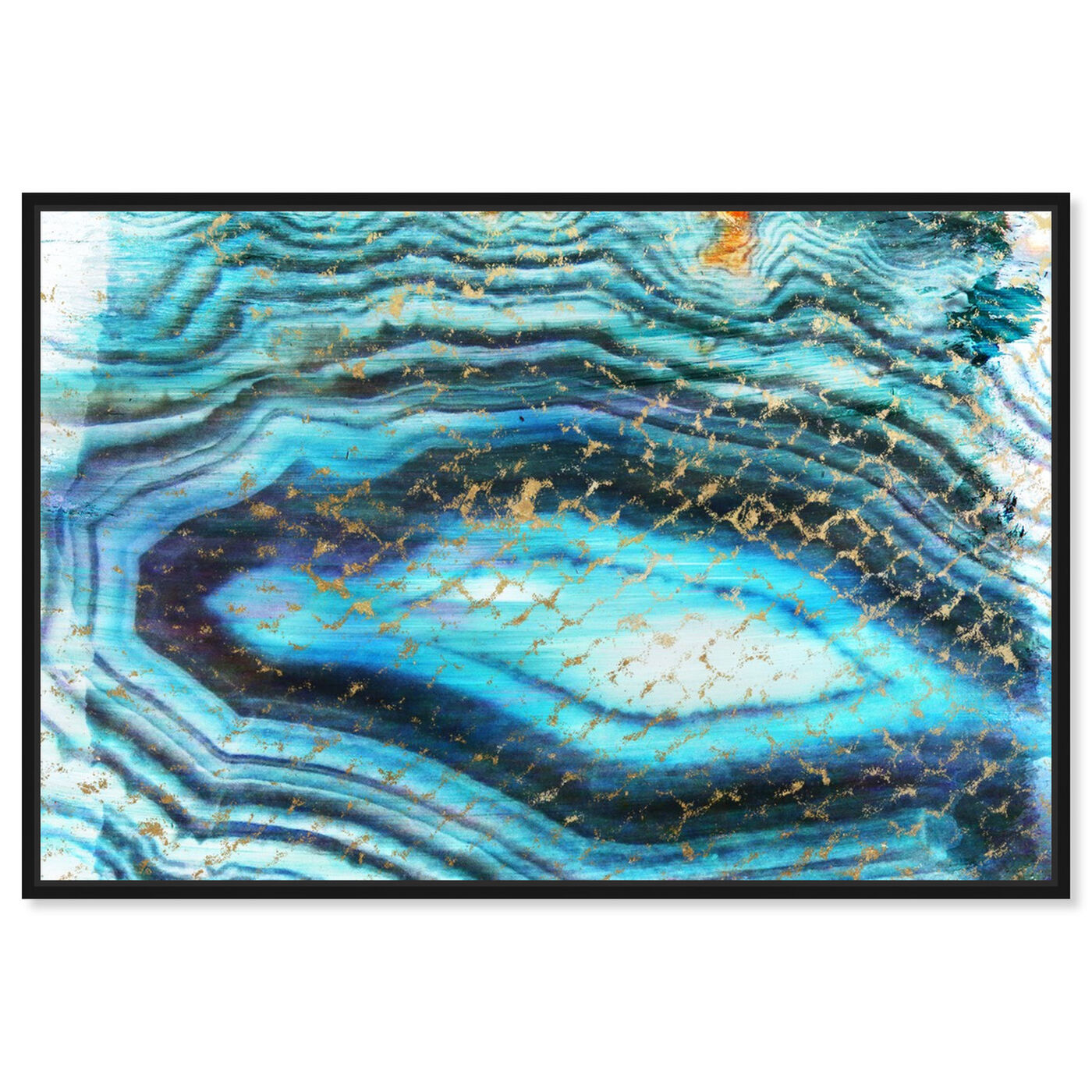 Front view of Sea of Turquoise featuring abstract and crystals art.