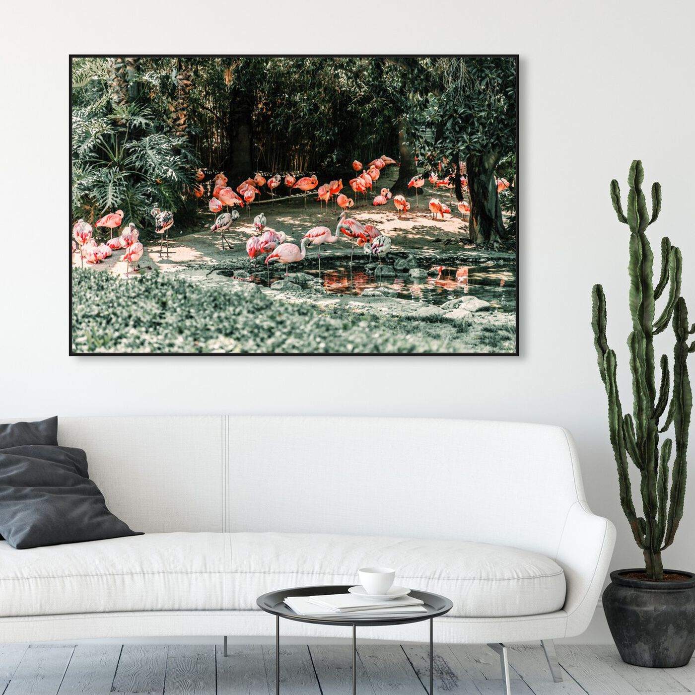 Hanging view of Flamingo Gathering featuring animals and birds art.