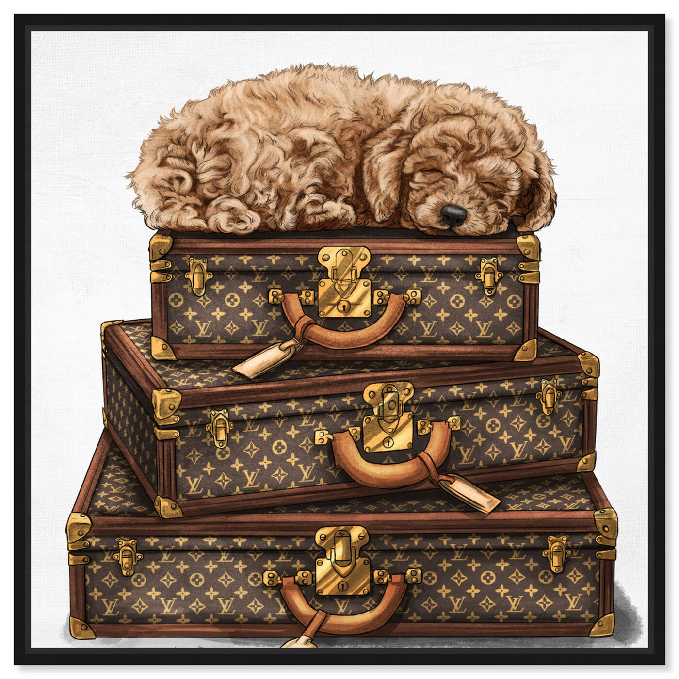 Front view of sleeping POODLE featuring fashion and glam and travel essentials art.