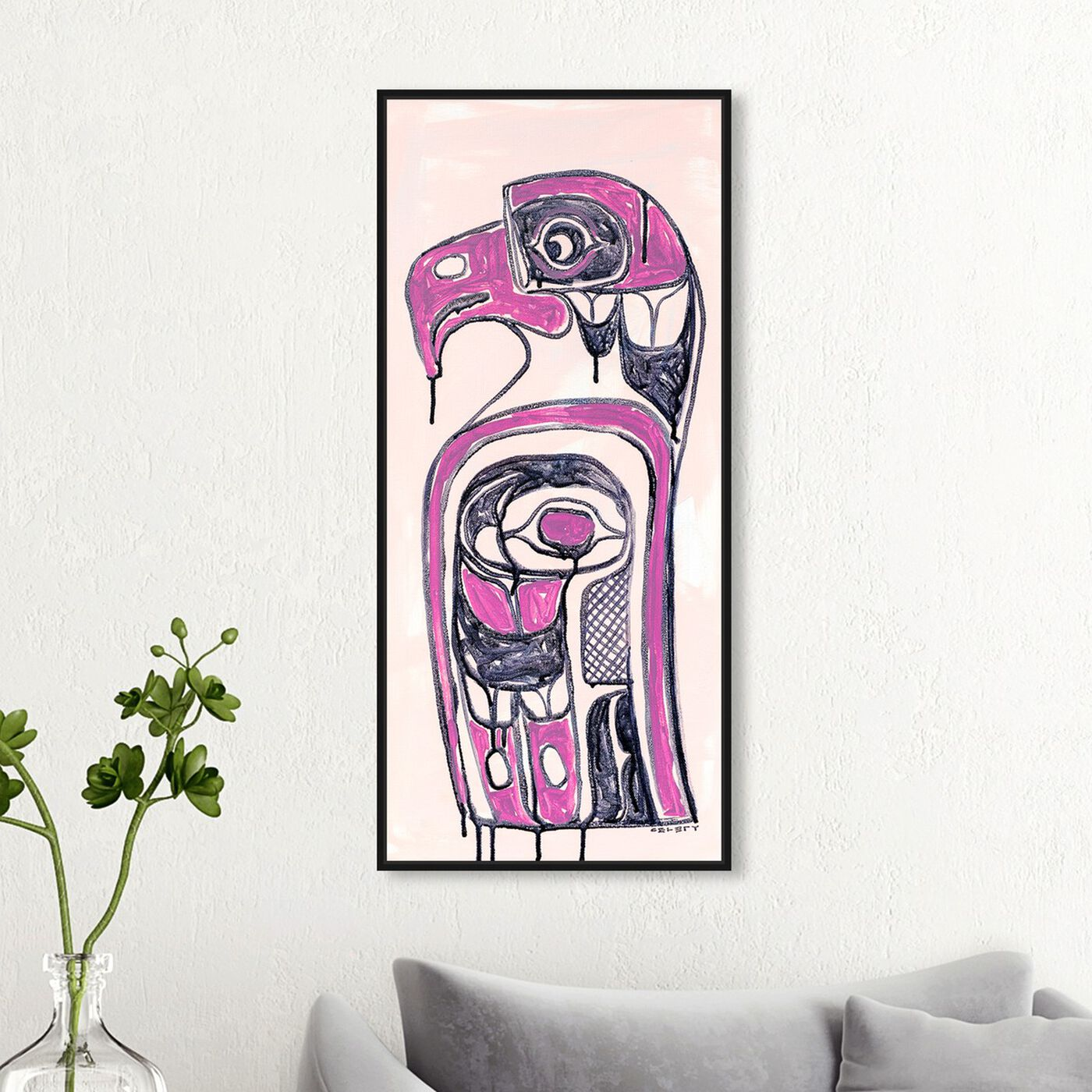 Hanging view of Celery Jones - Ornate Totem Magenta featuring symbols and objects and mystic symbols art.