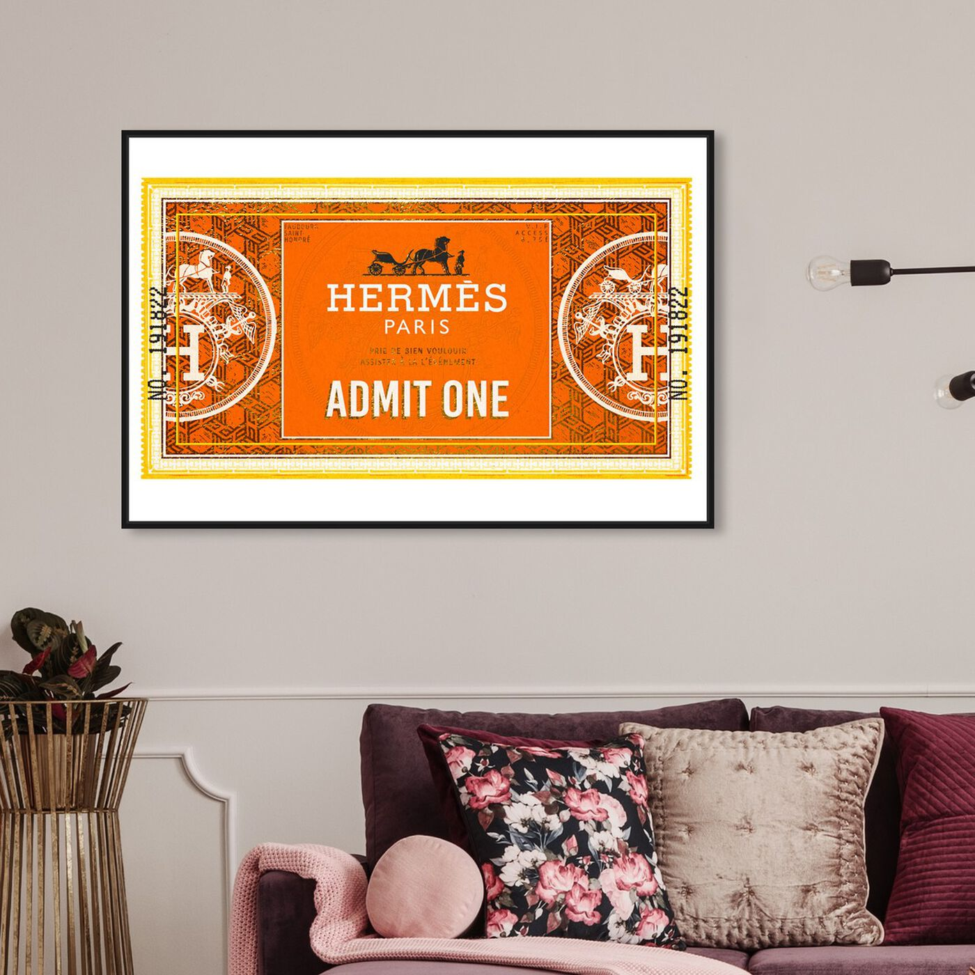 Hanging view of Admit One Honore Equestrian featuring fashion and glam and road signs art.