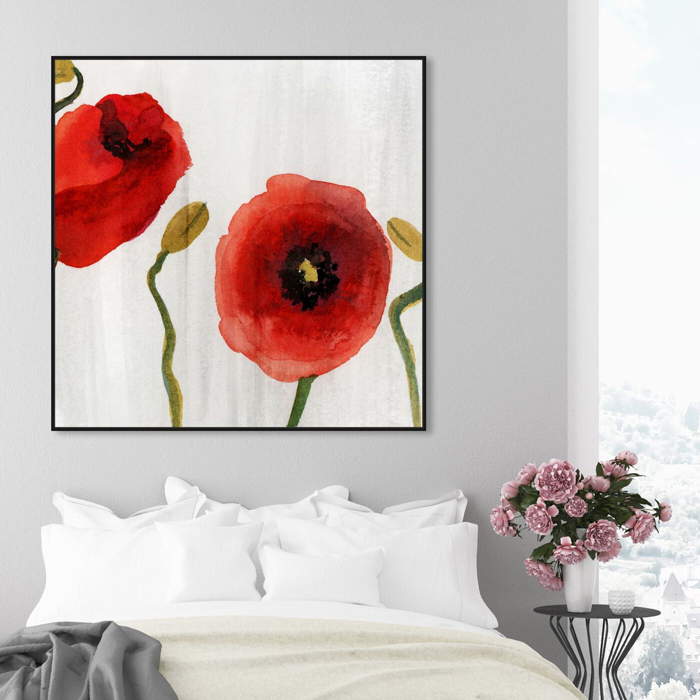 Hanging view of Red Flowers Classic featuring floral and botanical and florals art.