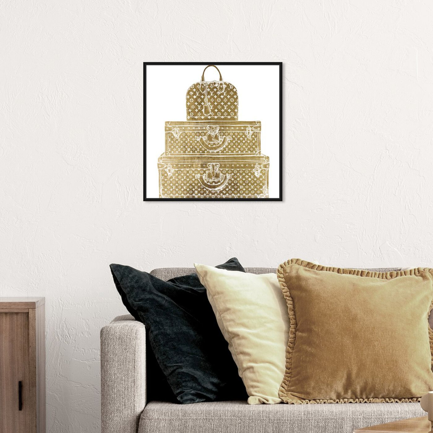 Hanging view of Royal Bag and Luggage Gold diecut featuring fashion and glam and travel essentials art.