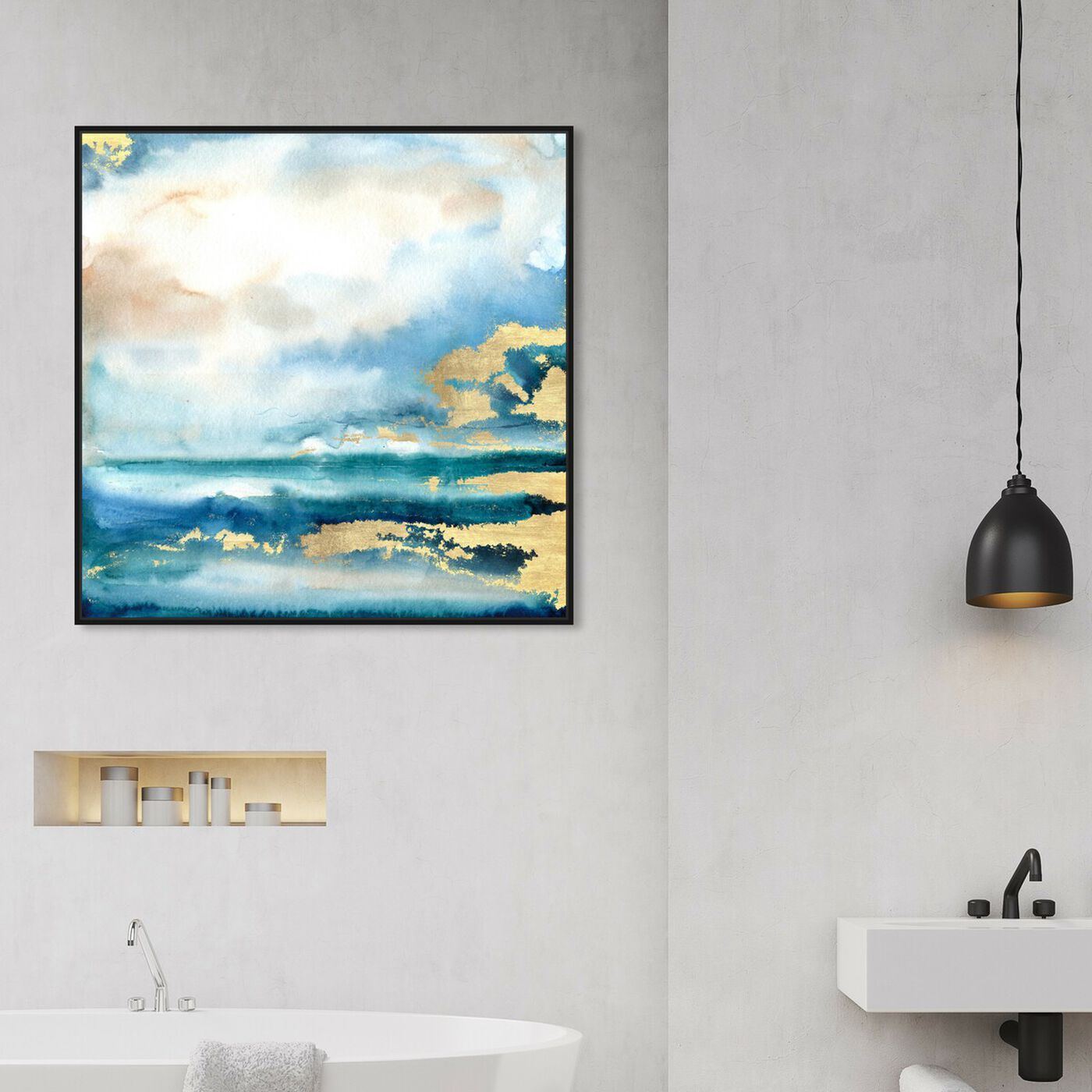 Hanging view of Silent Tides featuring abstract and paint art.