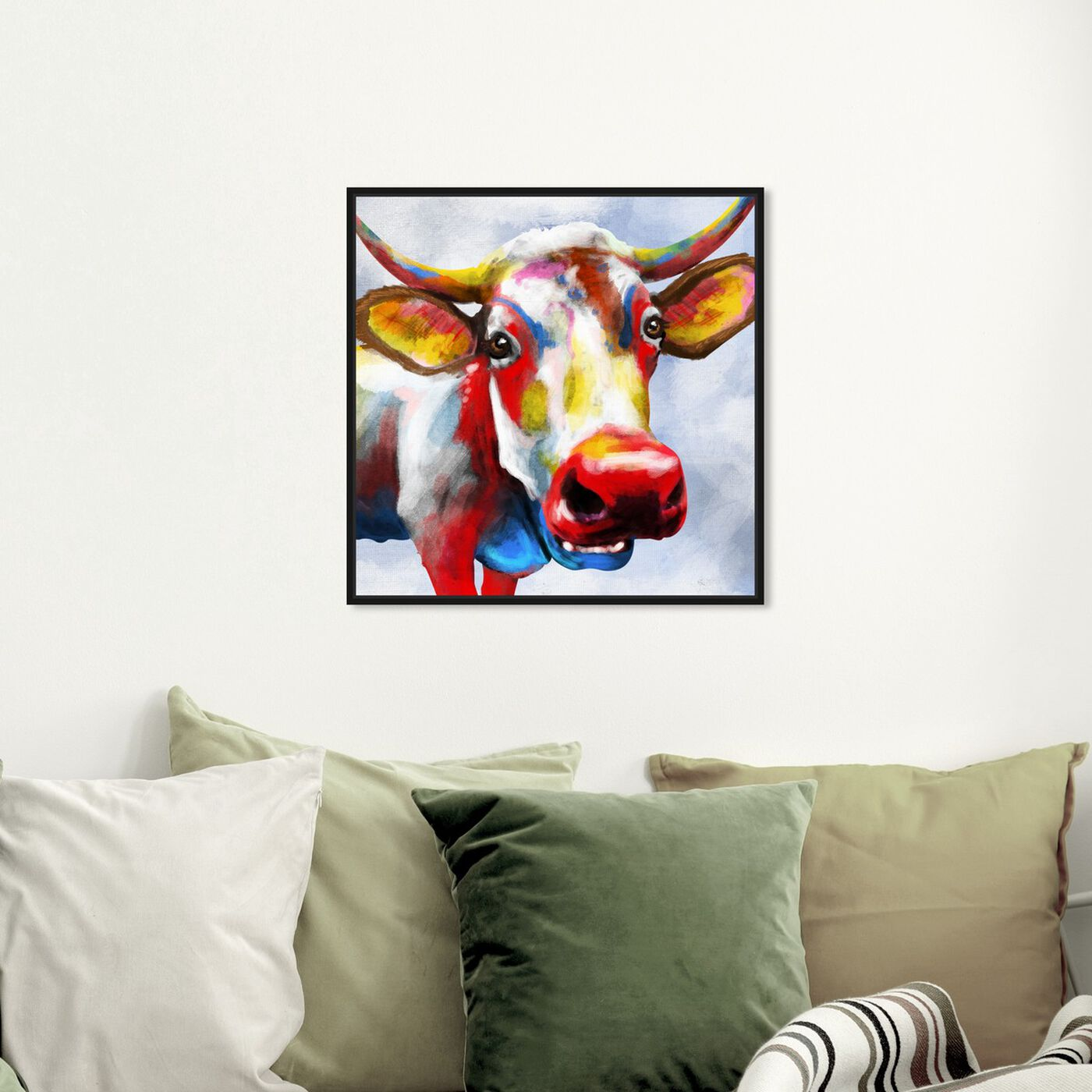 Hanging view of Color Spash Bovine featuring animals and farm animals art.