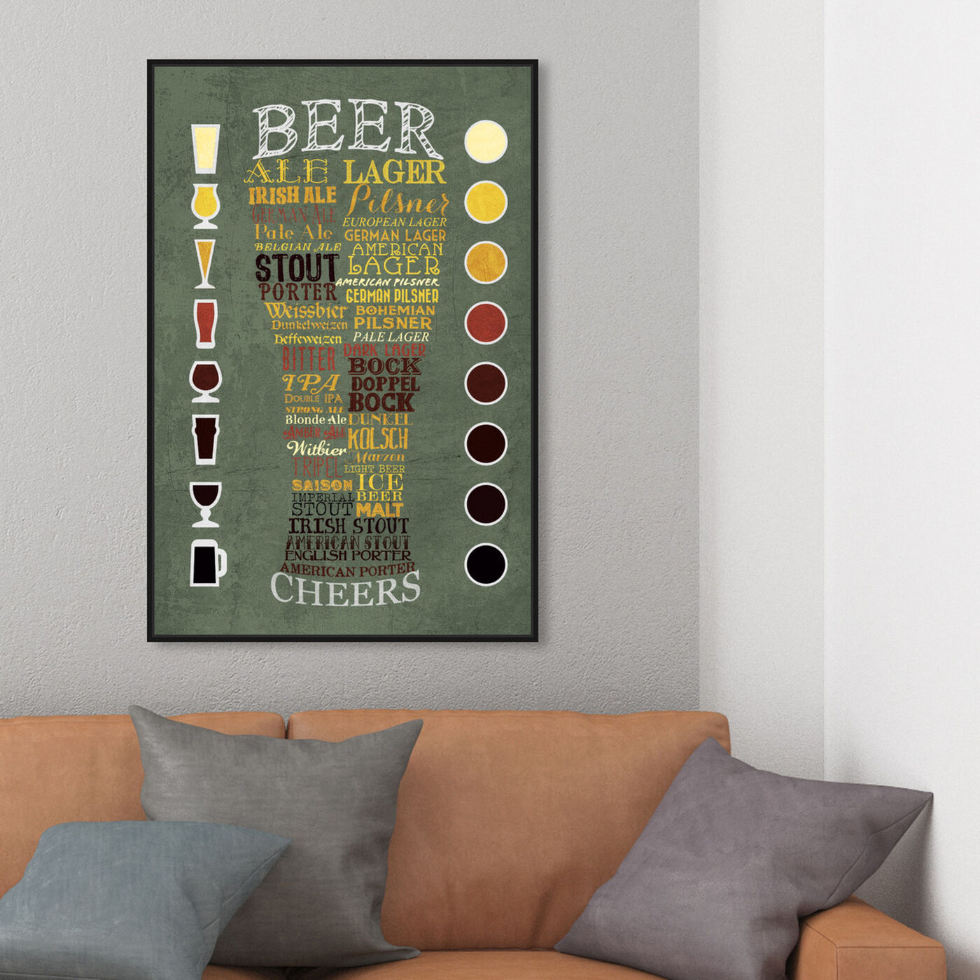 Hanging view of Beer Chart II featuring drinks and spirits and beer art.
