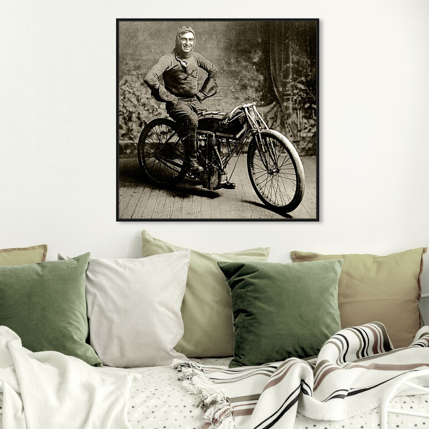 Hanging view of Motocicleta II featuring transportation and motorcycles art.