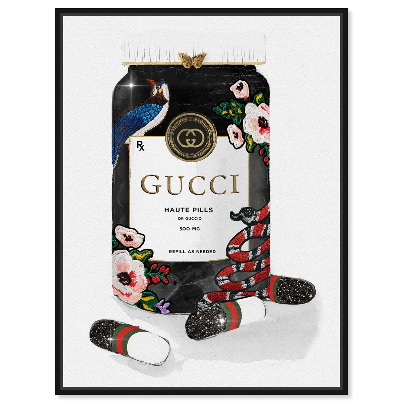 Front view of Glamorous Pills featuring fashion and glam and lifestyle art.