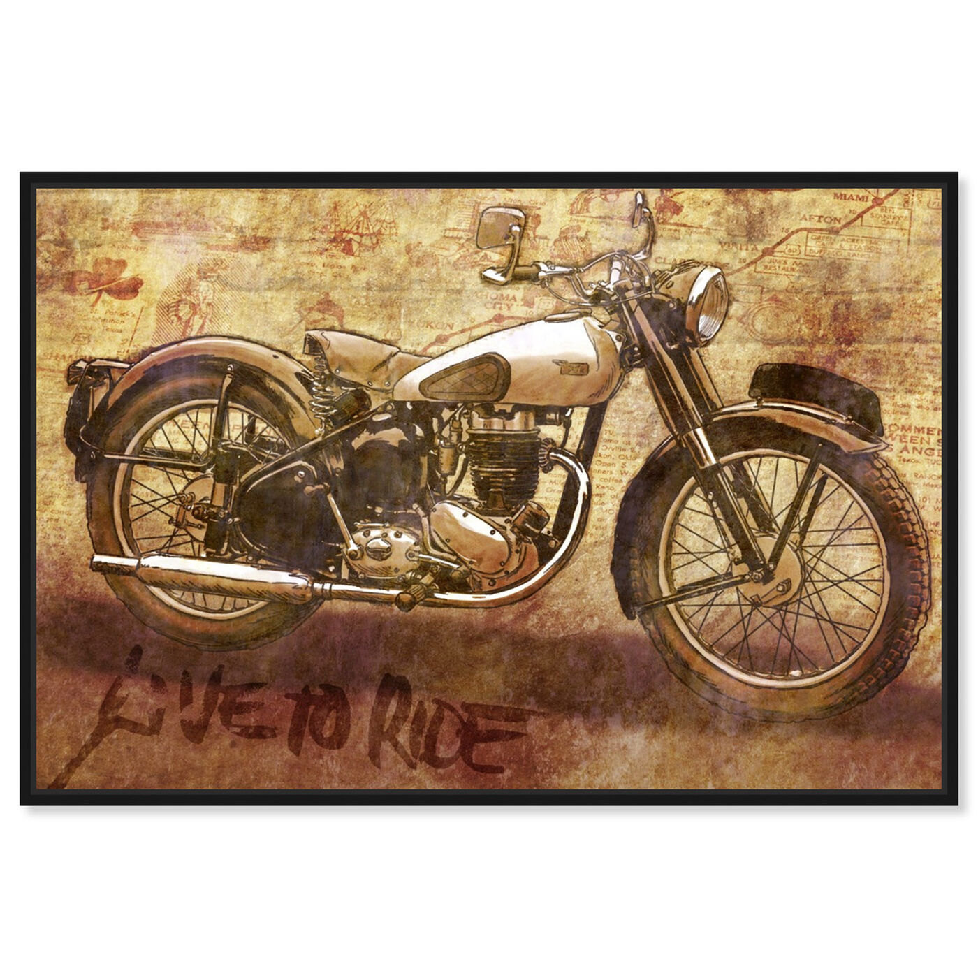 Front view of Live to Ride featuring transportation and motorcycles art.