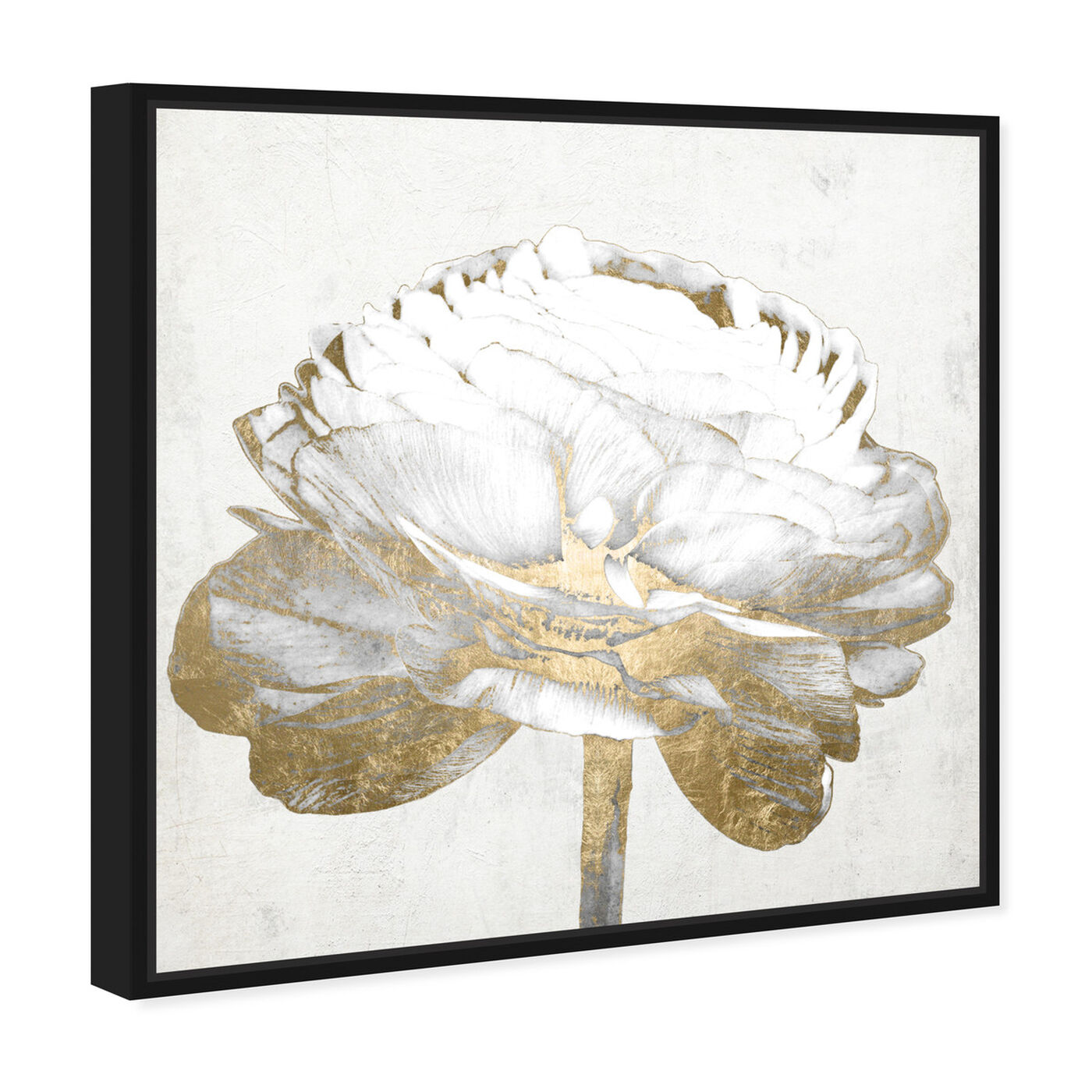 Angled view of Gold and Light Floral II White featuring floral and botanical and florals art.
