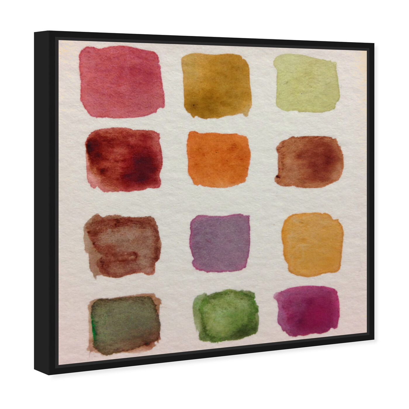 Angled view of Fall Palette featuring abstract and watercolor art.